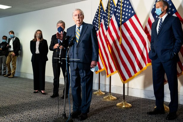 Mitch McConnell at Senate Republican Caucus Leadership Press Conference in Washington, US - 22 Sep 2020