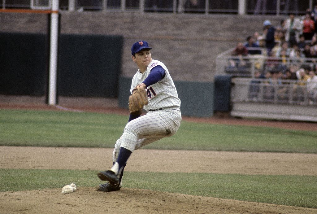 Tom Seaver of the New York Mets winds up to throws a pitch against the Baltimore Orioles during game 4 of the 1969 world series on Oct. 15, 1969 at Shea Stadium in Queens, New York. The Mets won the Series 4 games to 1.