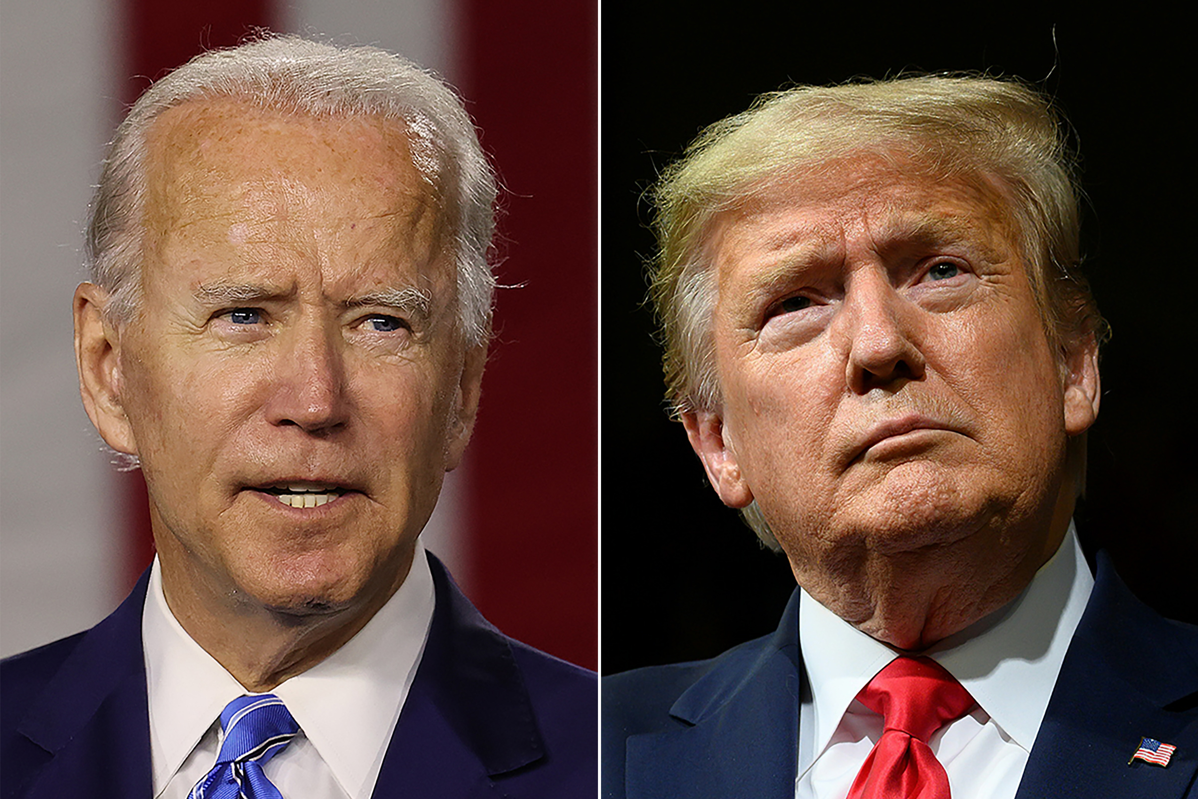 Vice President Joe Biden, left, speaks in Wilmington, Del., on July 14, 2020, and President Donald Trump speaks in Phoenix, Arizona, on February 19, 2020.