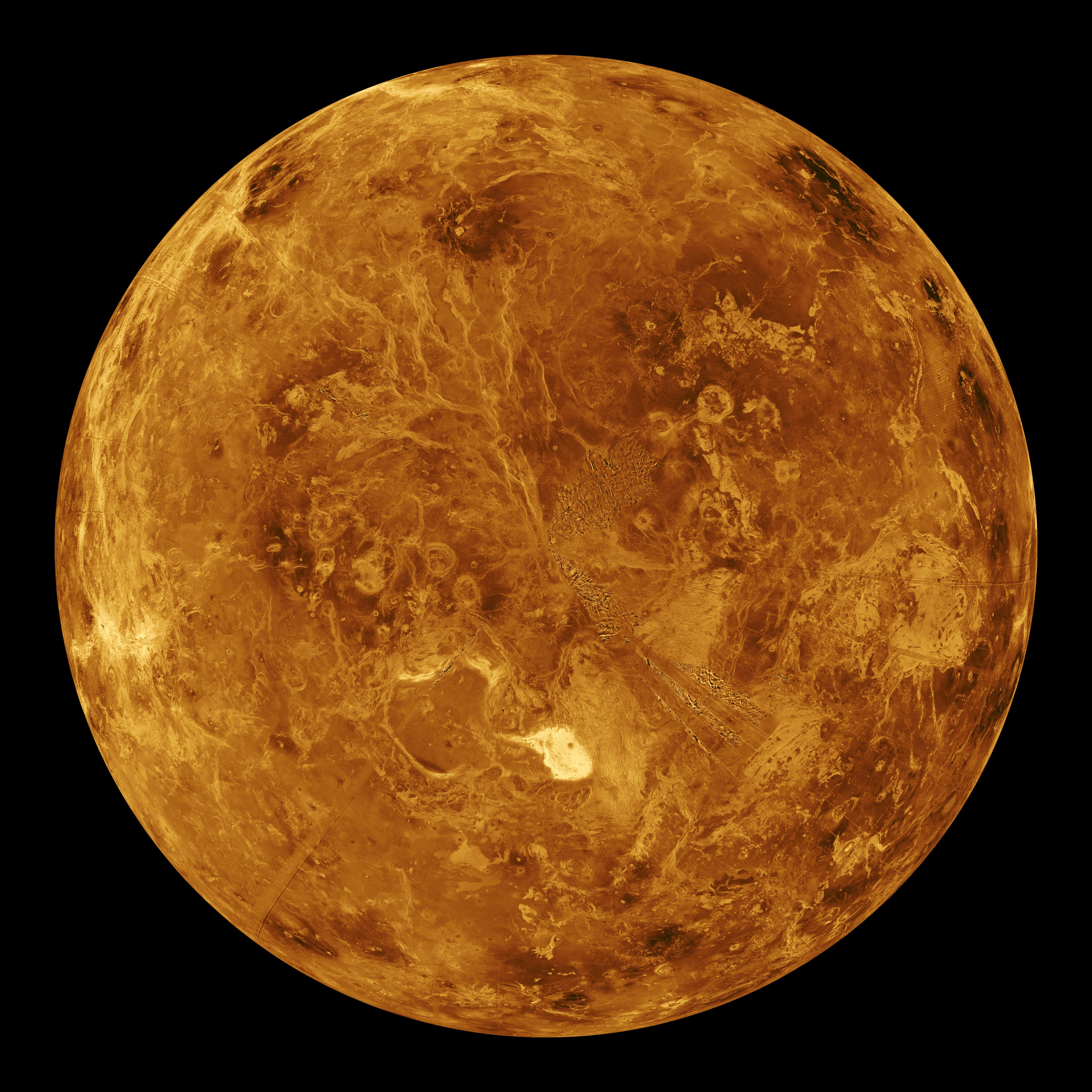 The northern hemisphere is displayed in this global view of the surface of Venus as seen by NASA Magellan spacecraft.