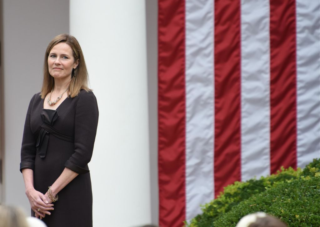Amy Coney Barrett, U.S. President Donald Trump's nominee for associate justice of the U.S. Supreme Court, attends an announcement ceremony at the White House on Sept. 26
