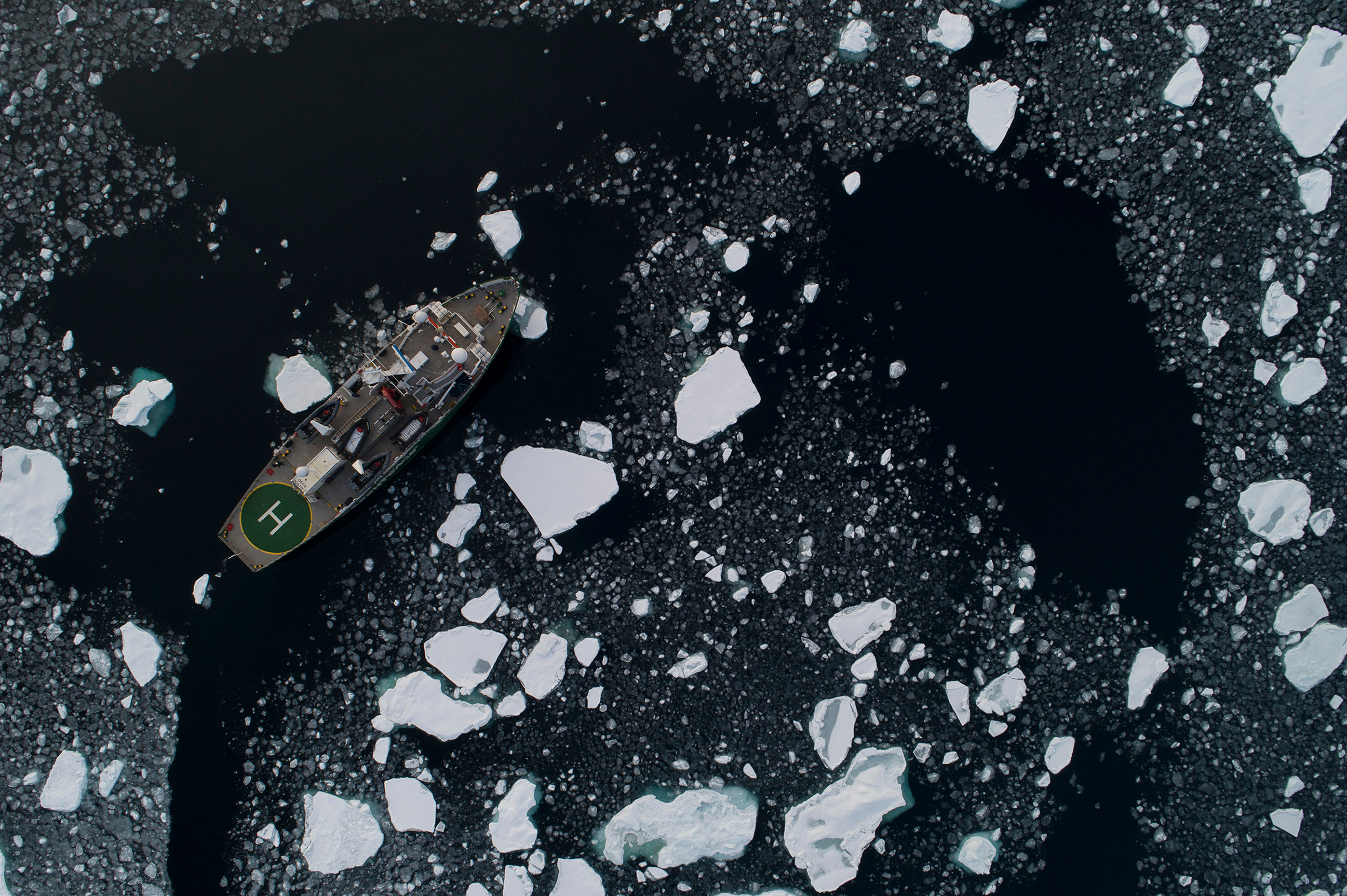 An aerial view of the Arctic Sunrise in the Arctic, on Sep. 15, 2020.