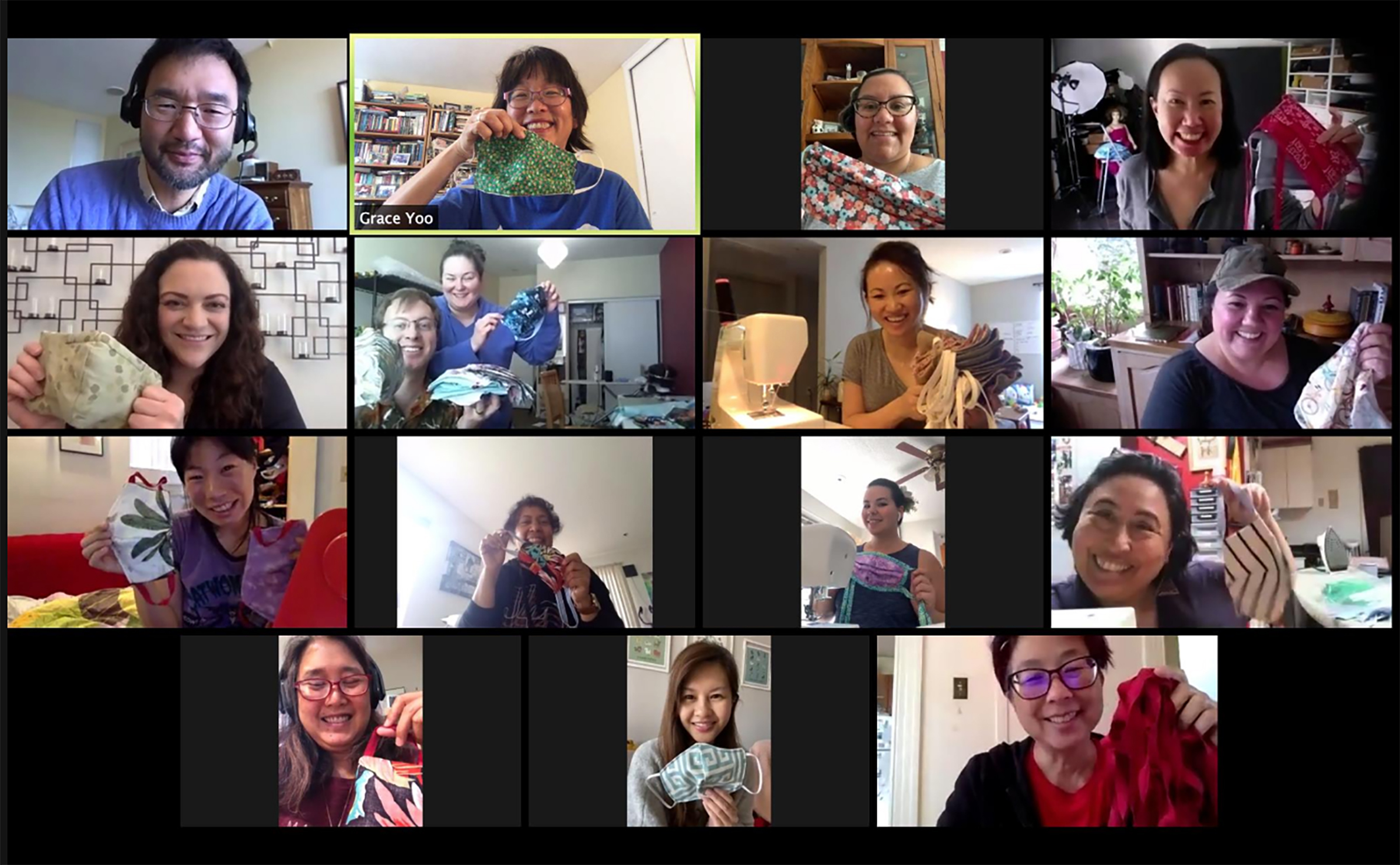 Screenshot of Auntie Sewing Squad  Stitch and Bitch Meeting  on April 4