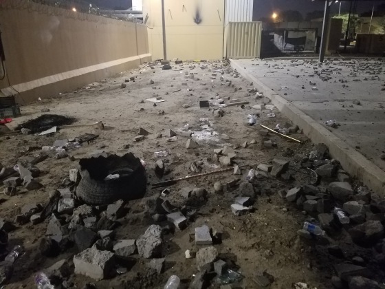 Debris and burned items in the aftermath of an attack on the U.S. embassy in Baghdad on Dec. 31, 2019.