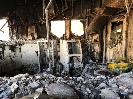 Protestors burned an access control area at the U.S. embassy on Dec. 31, 2019.