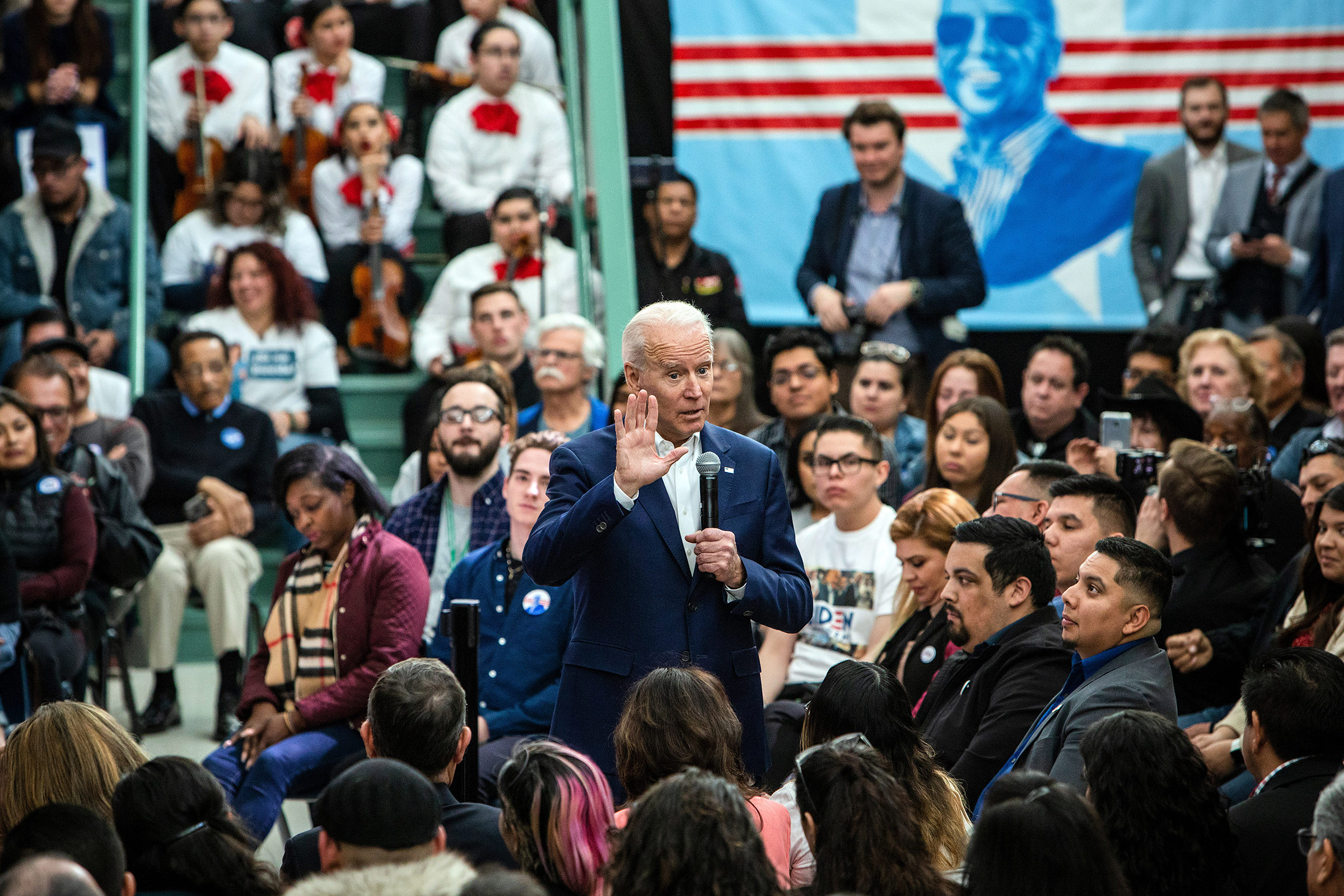 Former Vice President Joe Biden speaks at a rally organized by Mi Familia Vota, a national Latino voting group, in Las Vegas on Jan. 11, 2020.