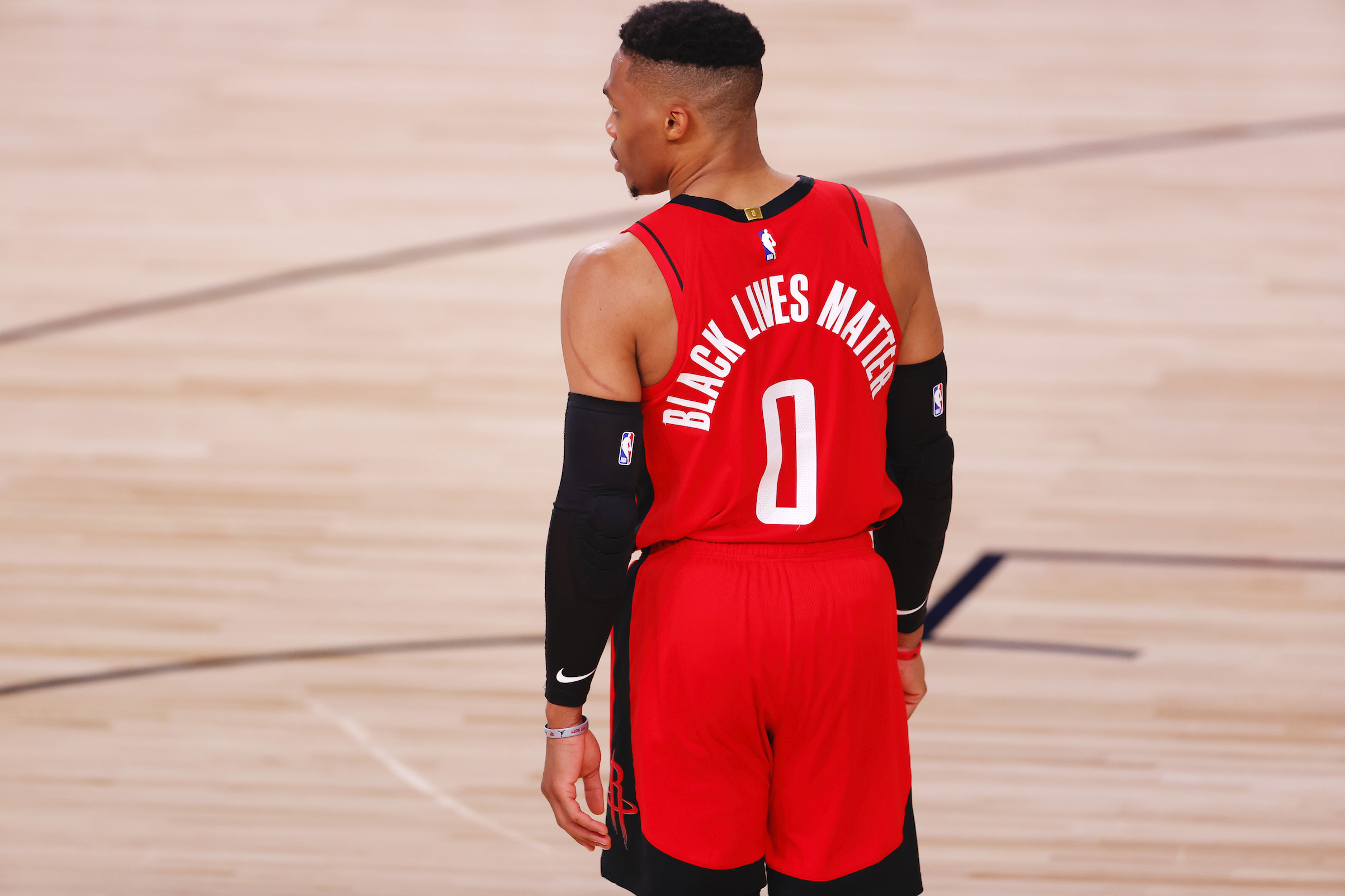 Russell Westbrook #0 of the Houston Rockets wears  Black Lives Matter  on the back of his jersey on Aug. 2, 2020 in Lake Buena Vista, Fla.