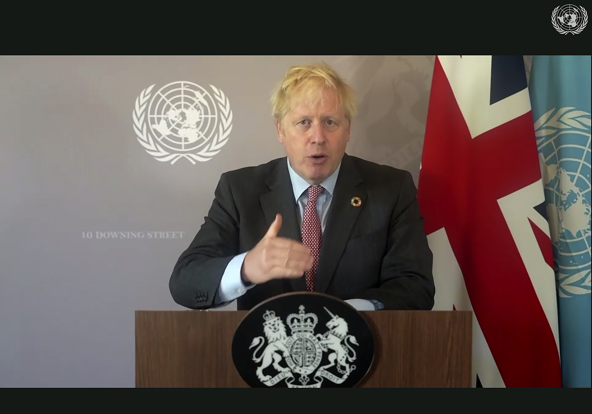 In this photo made from UNTV video, British Prime Minister Boris Johnson speaks in a pre-recorded message which was played during the 75th session of the United Nations General Assembly on Sept. 26, 2020, at UN Headquarters.