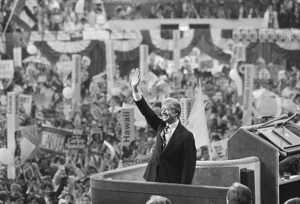 President Jimmy Carter accepts the Democratic nomination for President at the 1980 convention.