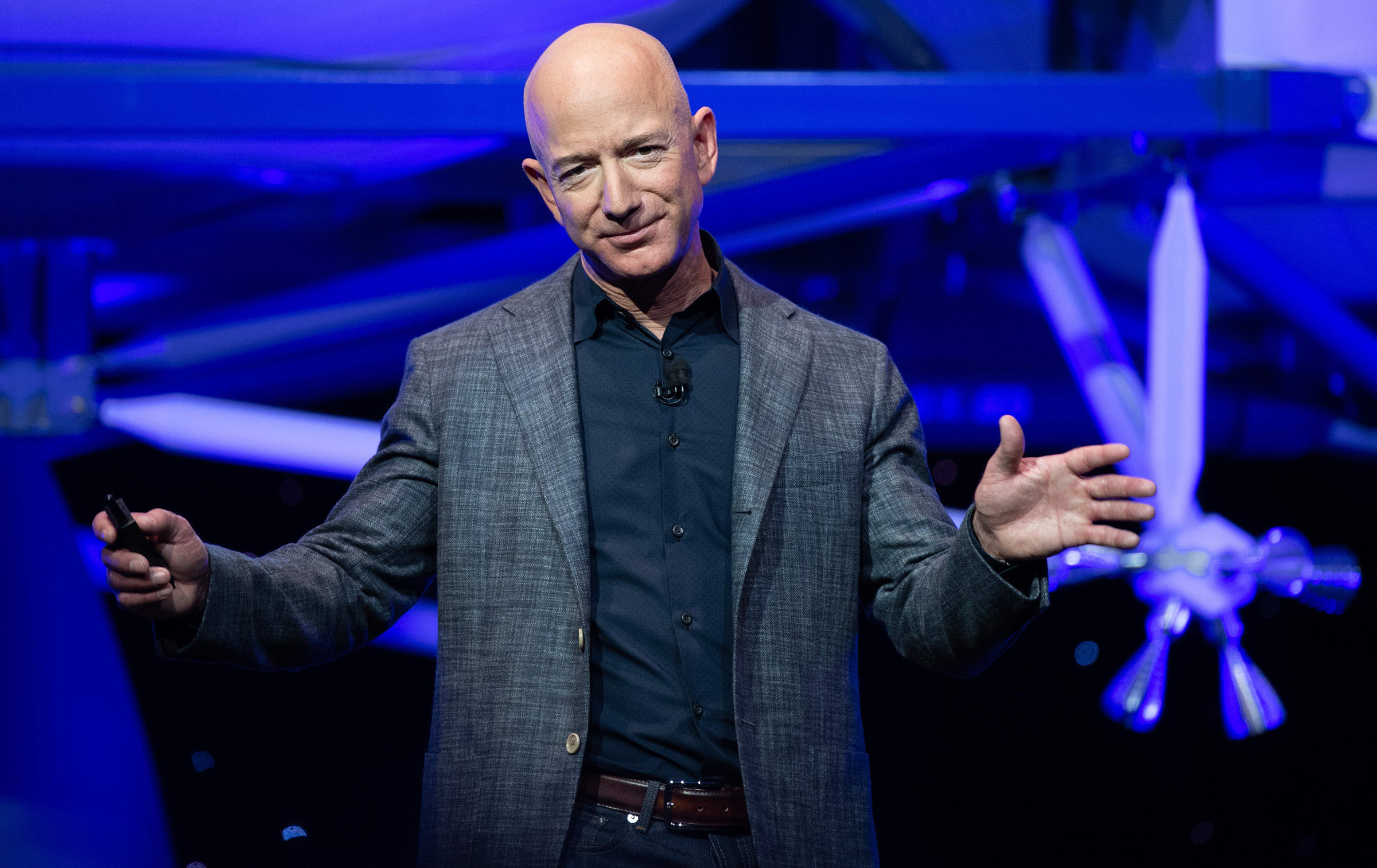 Amazon CEO Jeff Bezos announces Blue Moon, a lunar landing vehicle for the Moon, during an event in Washington, DC, on May 9, 2019.