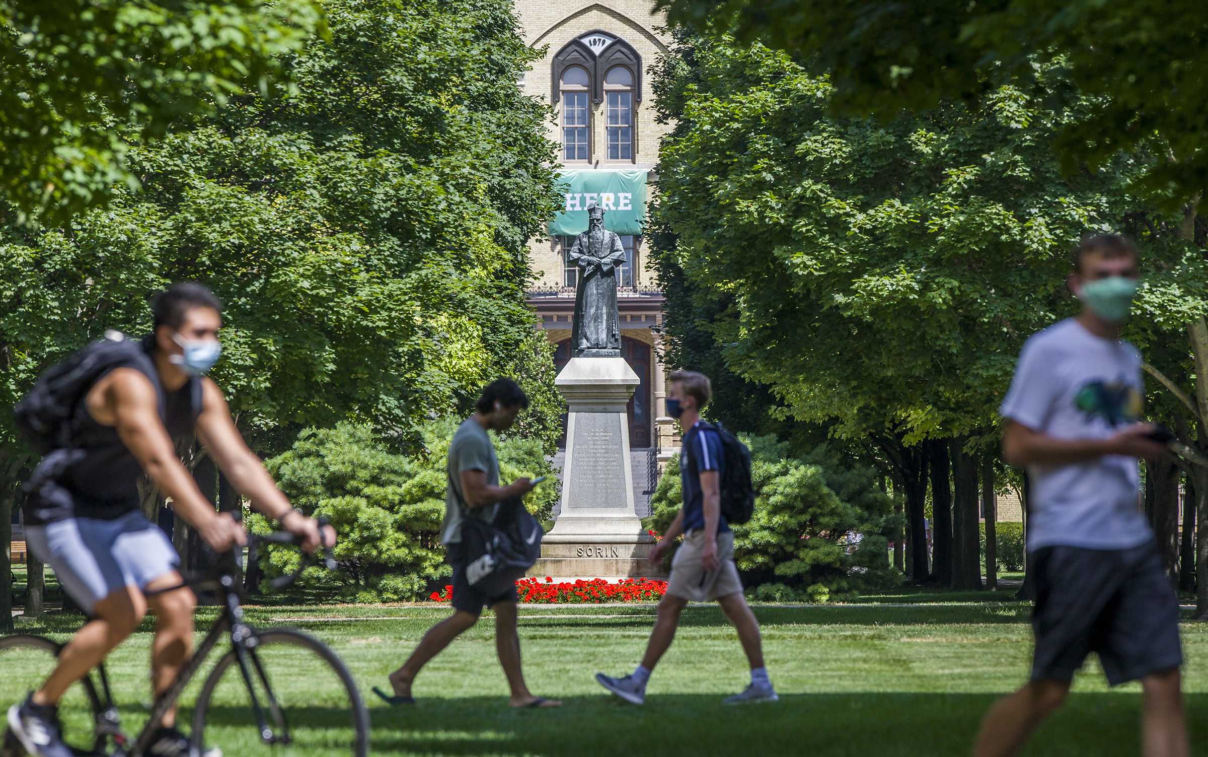 Students return to Notre Dame's campus for the fall semester, in South Bend, Ind. on August 7, 2020.