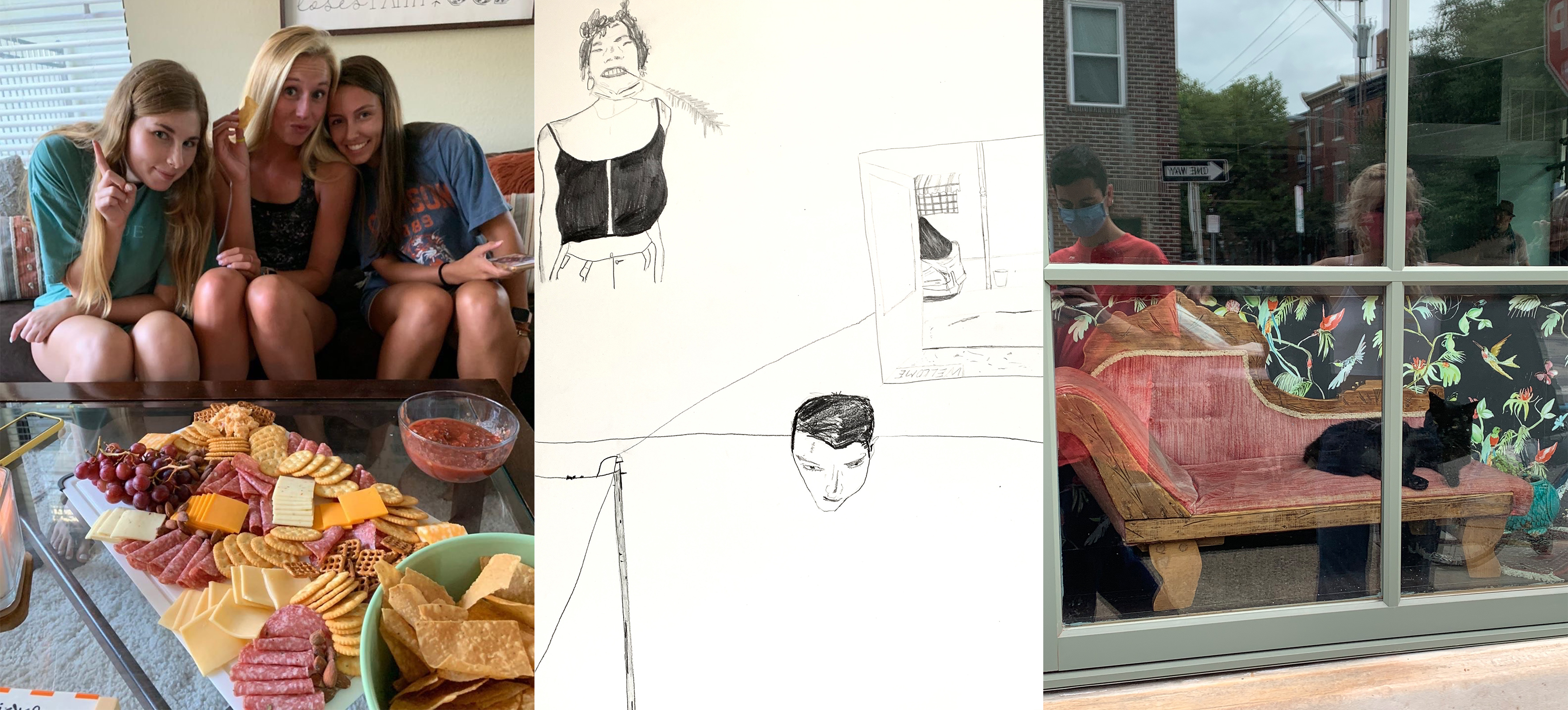 Clemson University sophomore Elizabeth Rew's roommates pose alongside a charcuterie board they made together; A drawing by Temple university student Kyle Caruthers of his living space, including his roommate, a self portrait, and the street he lives on; Caruthers and a friend, wearing masks, document a lounging cat
