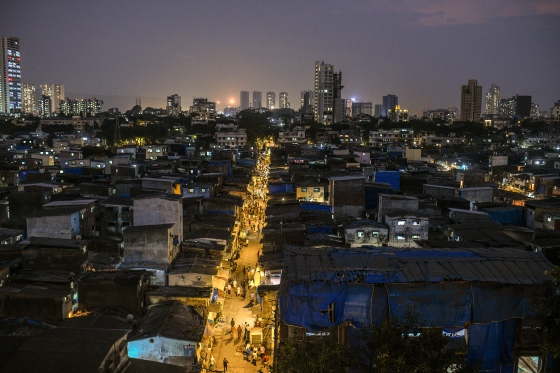 Dharavi in late April. The hyper-dense network of brick homes and small scale enterprises, which sprawl in the shadow of shiny new skyscrapers, was home to a thriving economy—until recently.