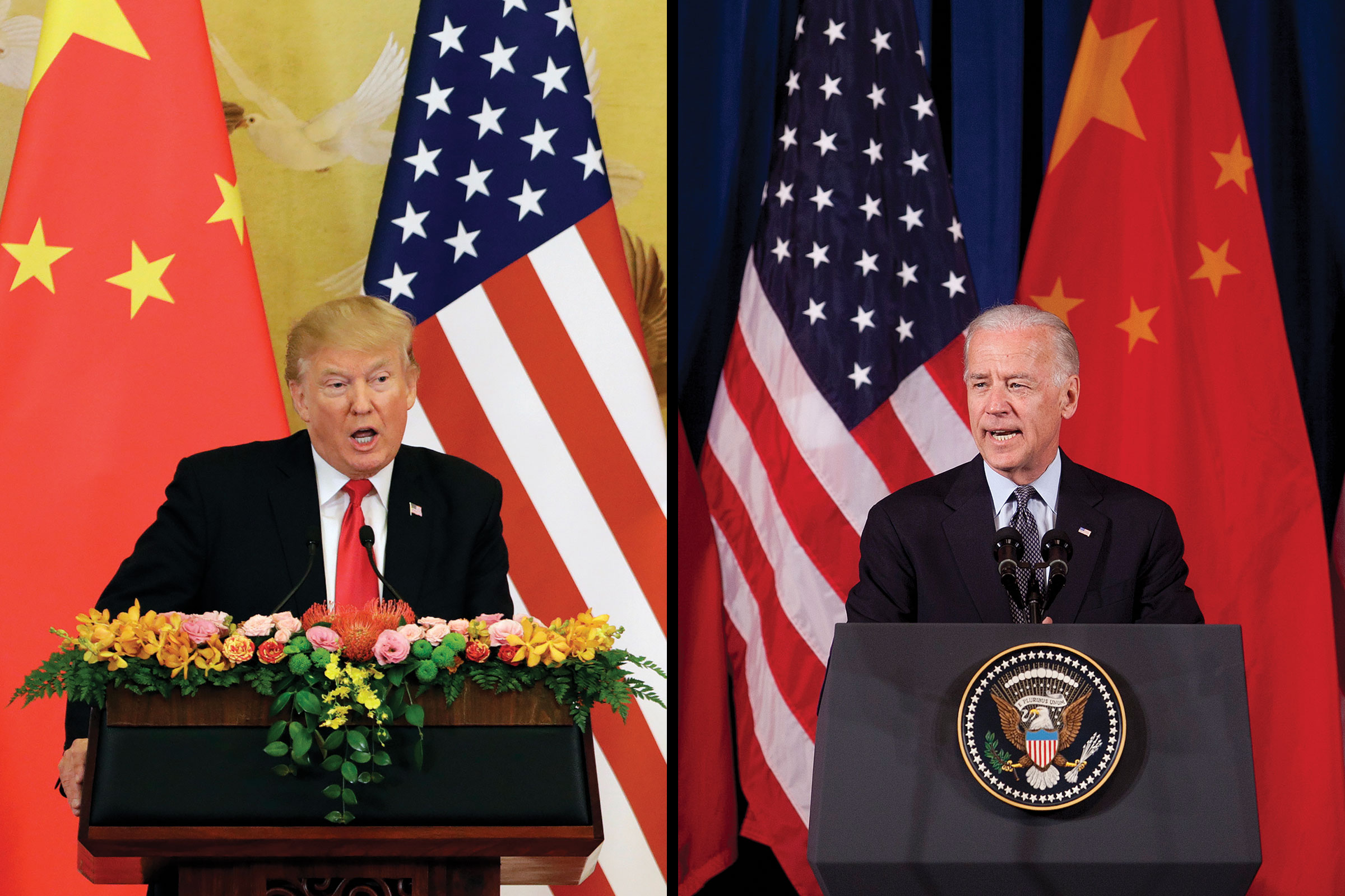 President Donald Trump during a news conference at the Great Hall of the People in Beijing, China, Nov. 9, 2017; Then Vice President Joe Biden during the opening ceremony of the U.S.-China Strategic & Economic Dialogue in Washington, May 9, 2011