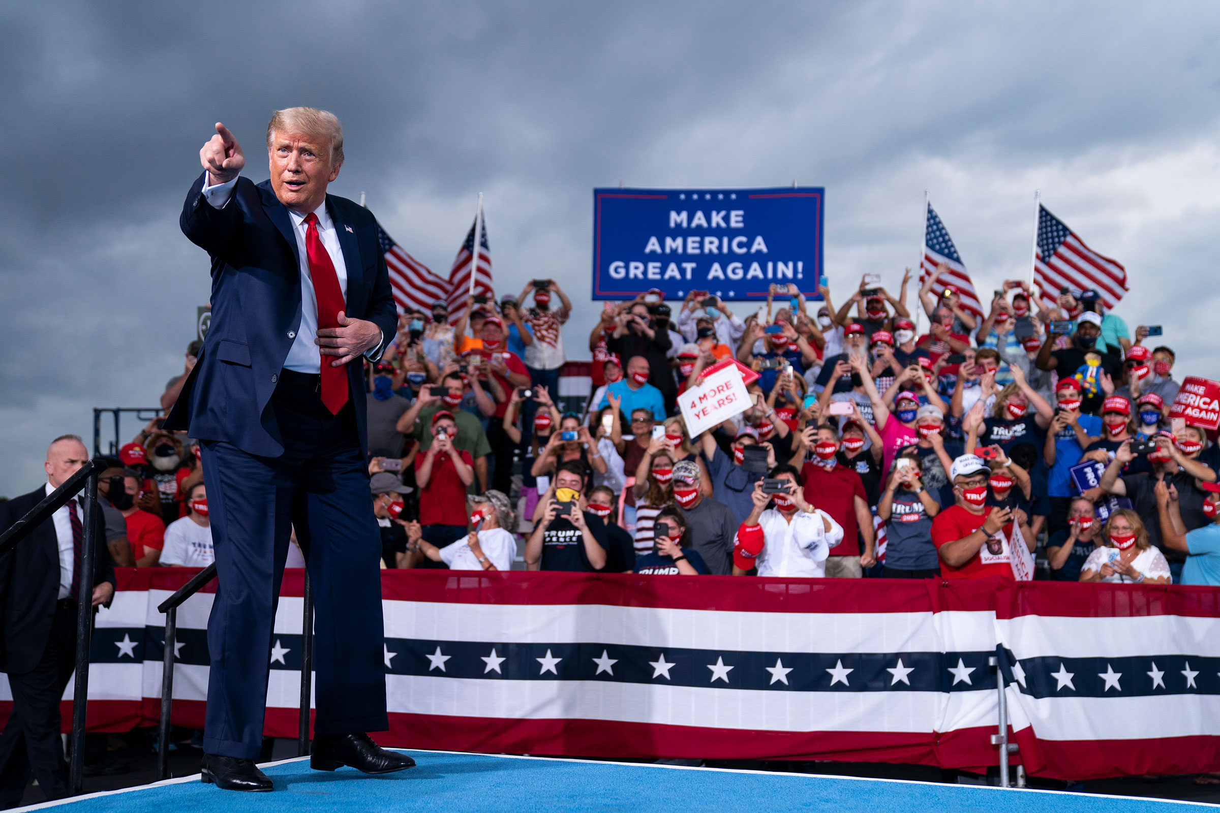 President Donald Trump arrives to speak at a campaign rally at Smith Reynolds Airport, on Sept. 8, 2020, in Winston-Salem, N.C.