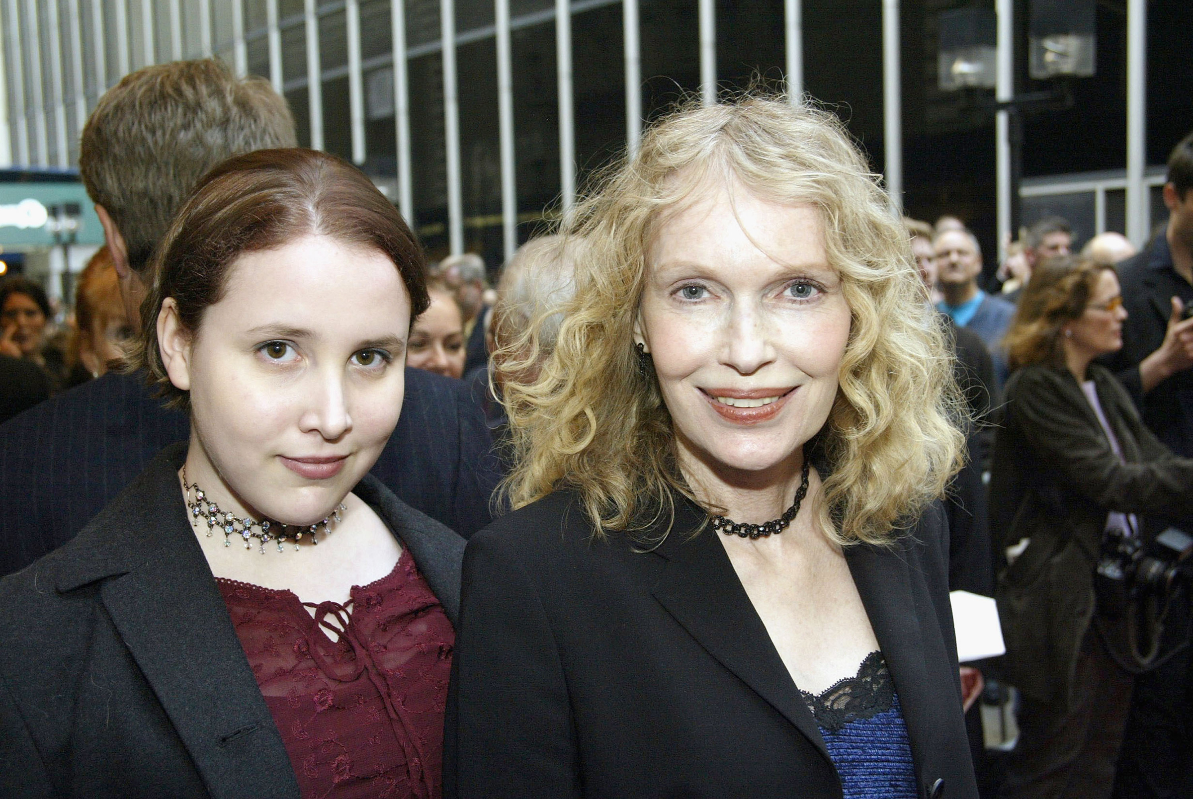 Dylan Farrow, left, and her mother Mia Farrow arrive at the Opening Night of  Gypsy  at The Shubert Theatre in New York City on May 1, 2003