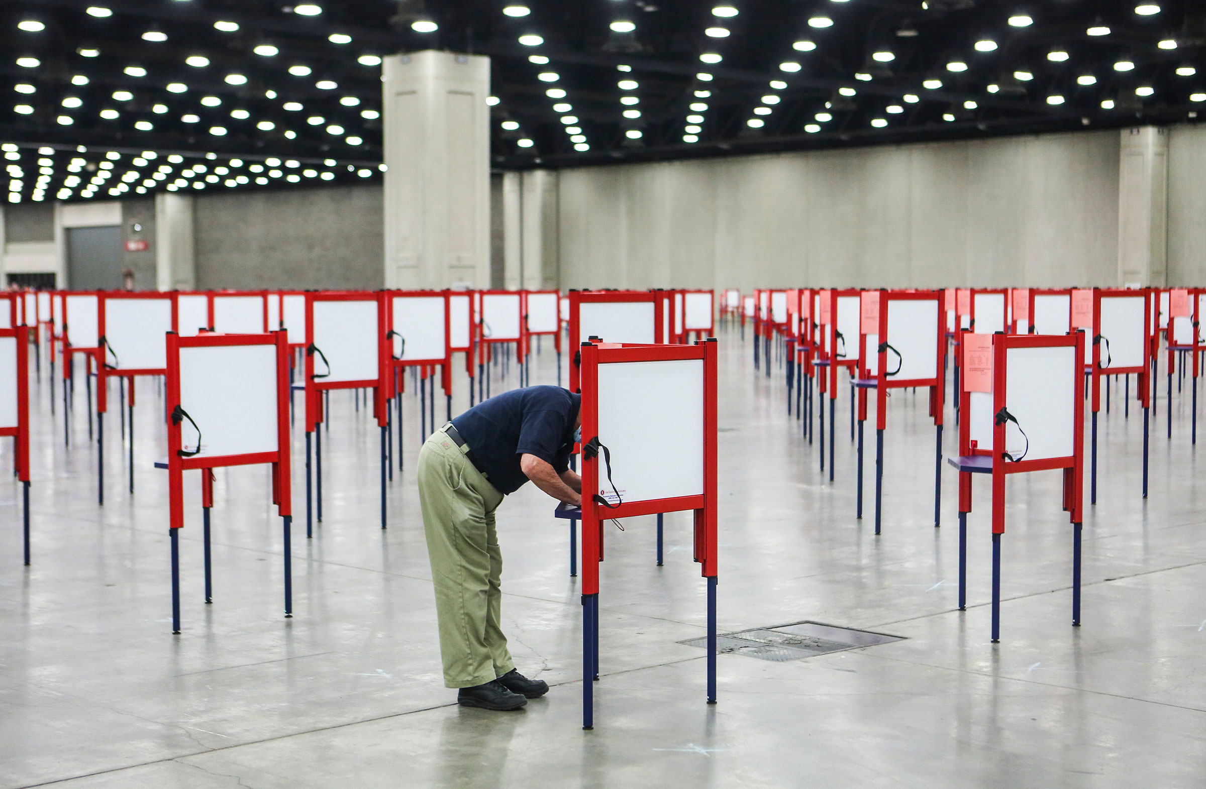 Voters had hundreds of voting booths to choose from during early voting for the Kentucky Primary in Louisville on June 15, 2020.