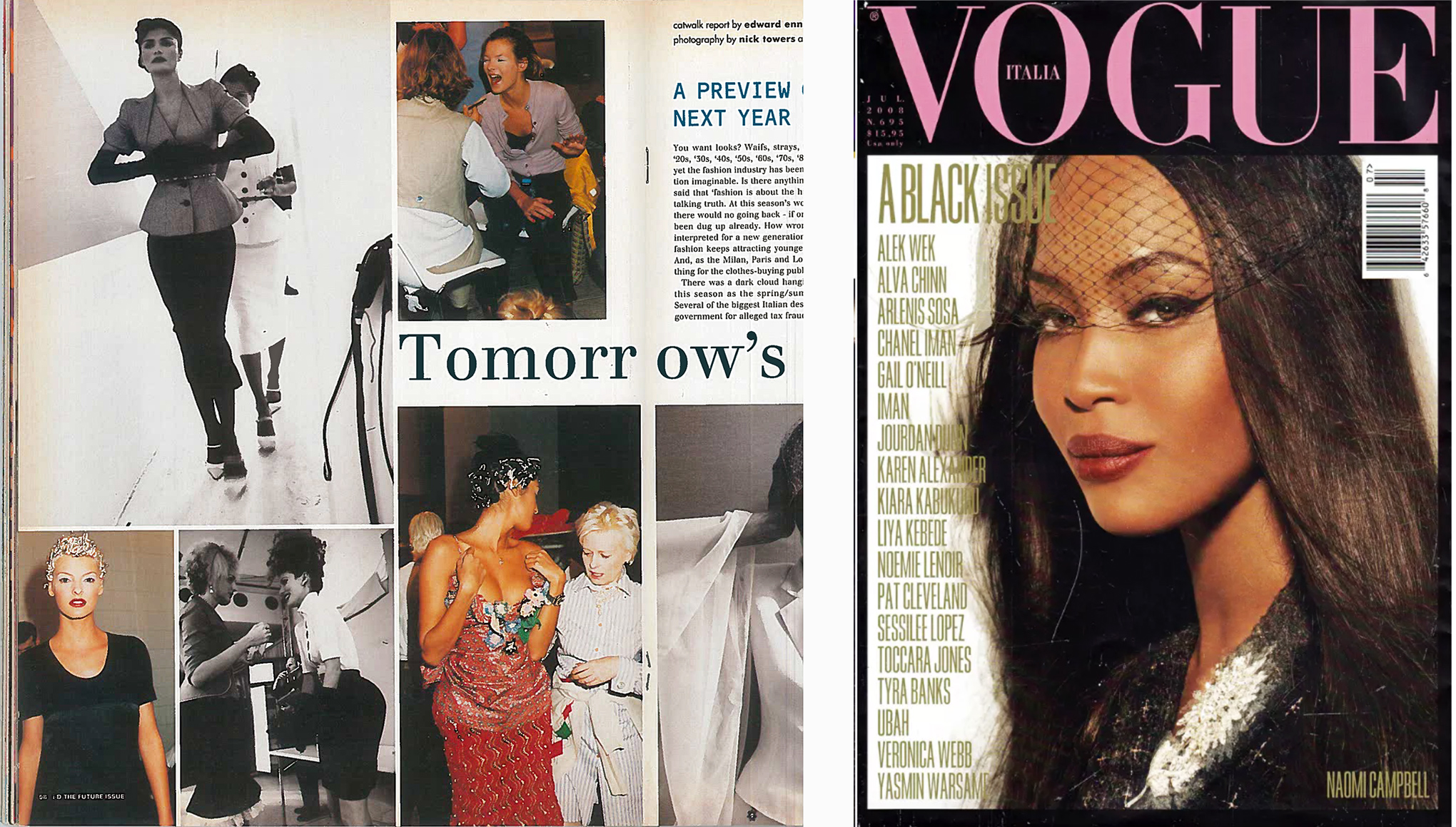 From left: a Fashion Week report by Enninful in I-D's January 1995 issue; Naomi Campbell on Vogue Italia in July 2008.