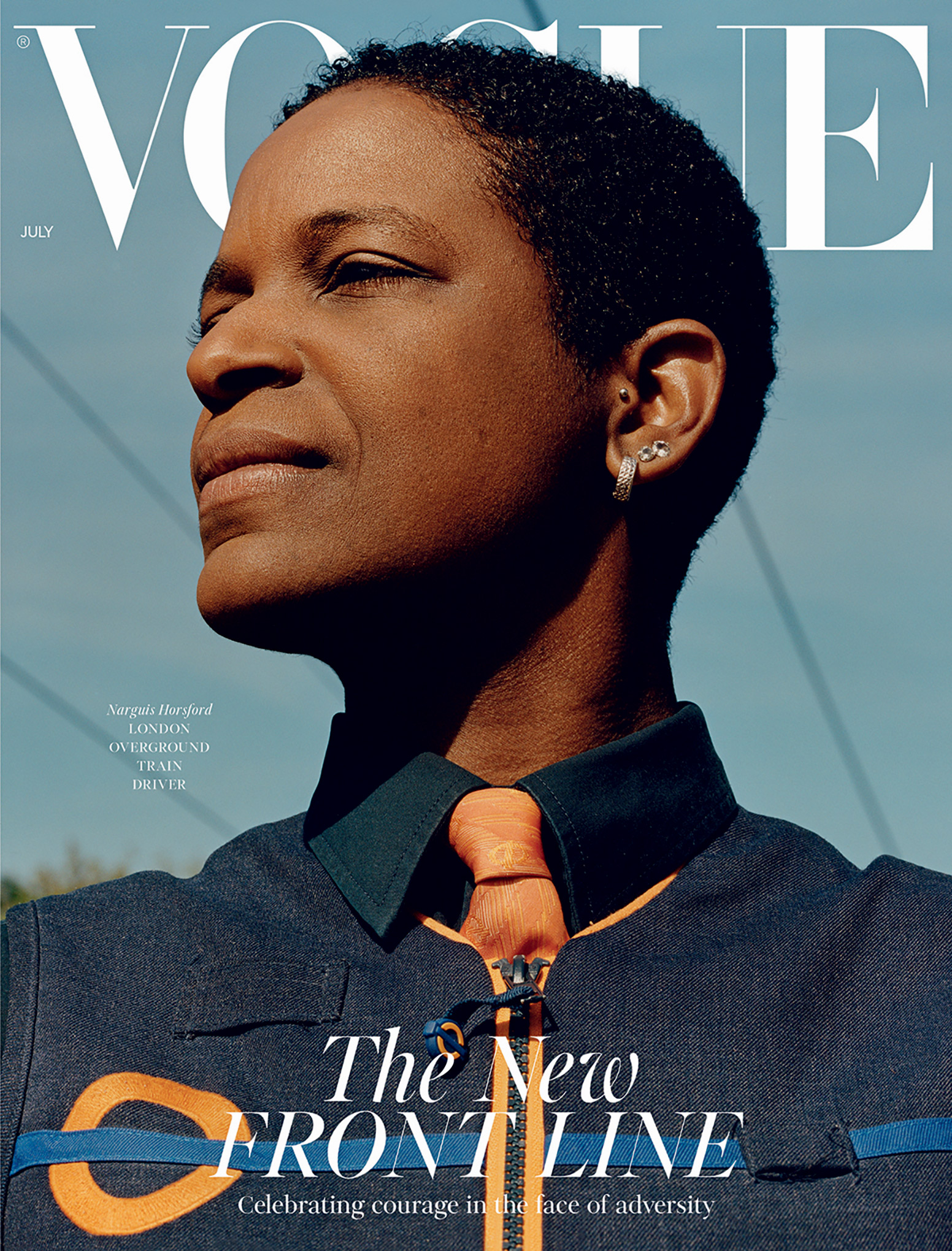 Train driver Narguis Horsford, on British Vogue's July 2020 issue.
