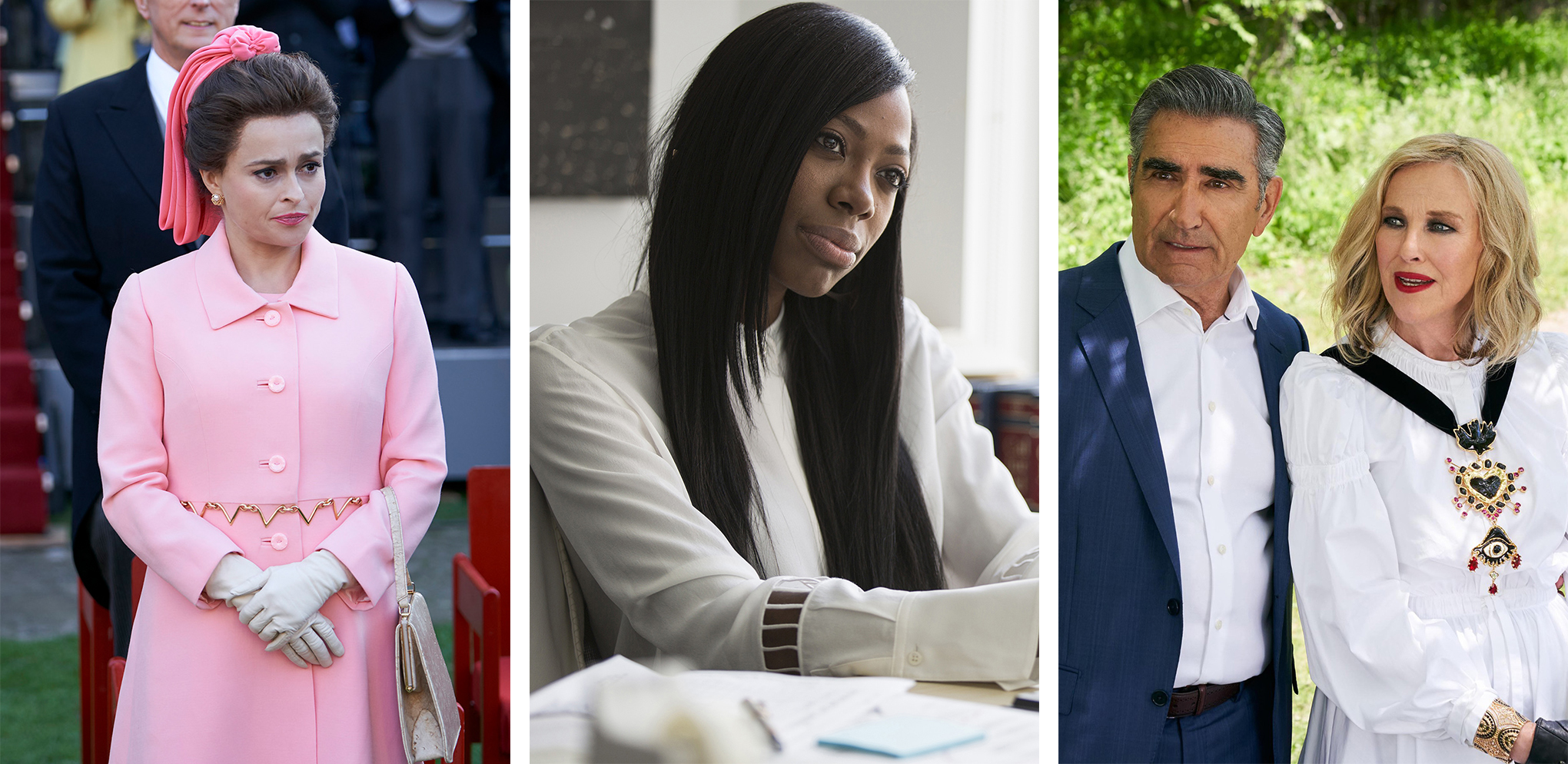 From left: Helena Bonham Carter in  The Crown;  Yvonne Orji in  Insecure;  Eugene Levy and Catherine O'Hara in  Schitt's Creek