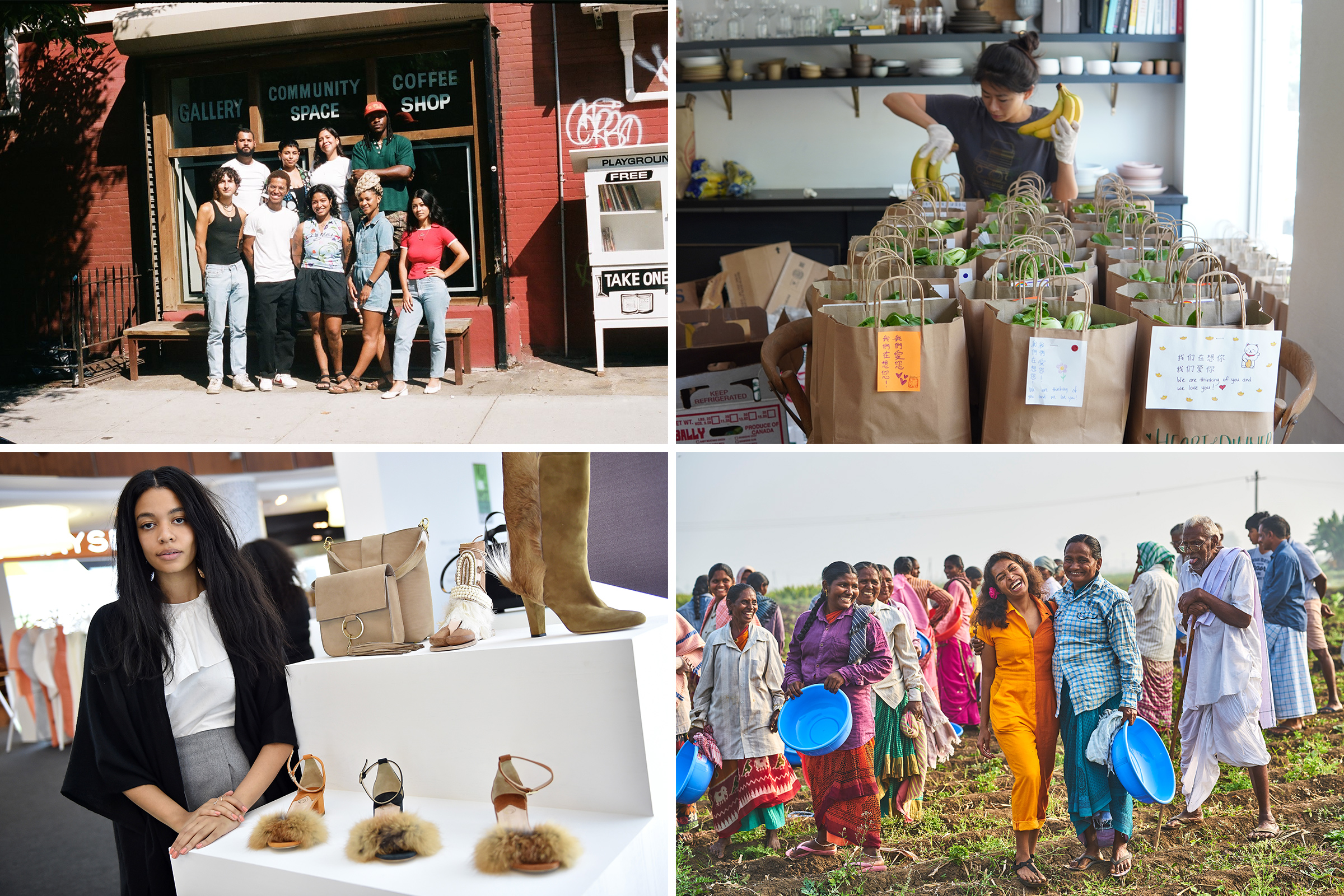 Top row from left: Playground Coffee Shop owner Zenat Begum, bottom center, and her staff have prioritized aid for their community during the pandemic; Heart of Dinner co-founder Yin Chang prepares care packages for delivery to the elderly; Bottom row from left: Brother Vellies founder Aurora James created the 15% Pledge to level the playing field for Black-owned businesses; Diaspora Co. founder Sana Javeri Kadri, in orange, with farmworkers who harvest spices for her company in India