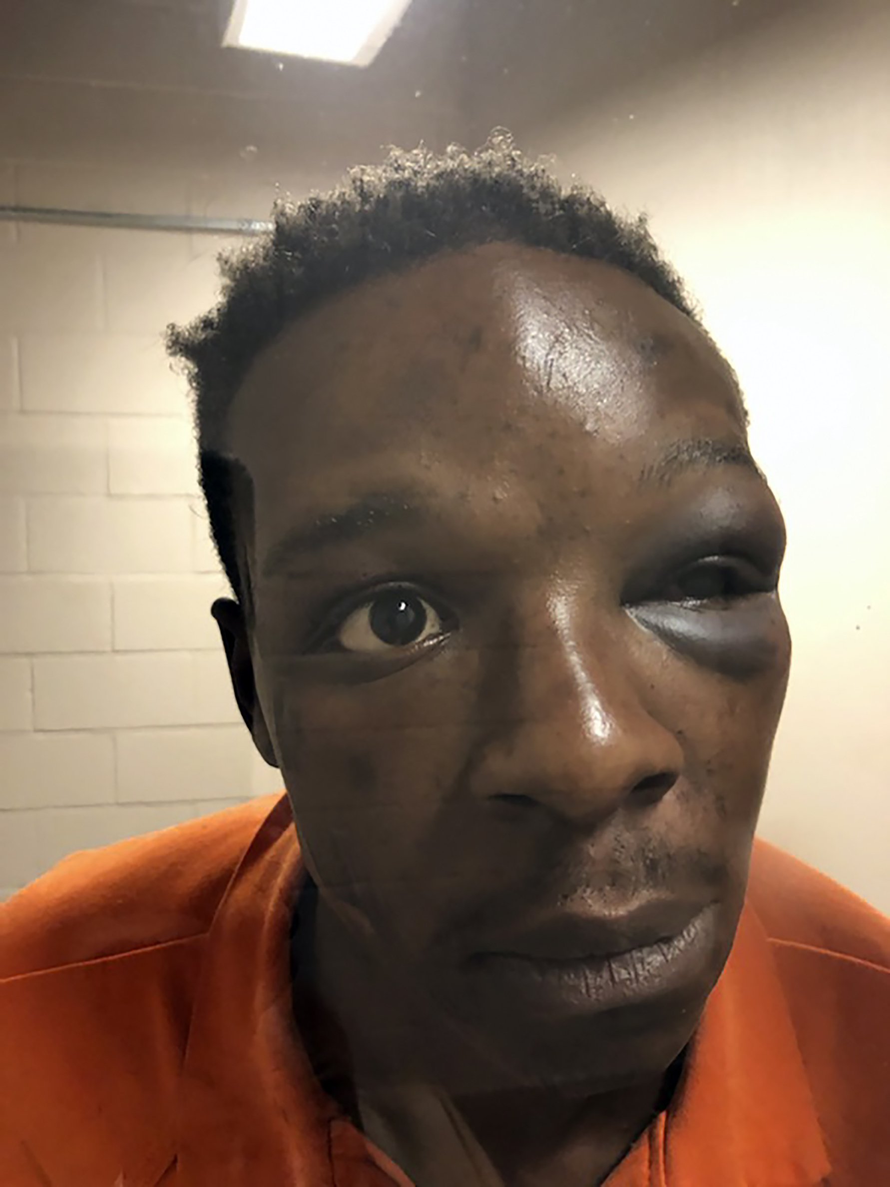 This Saturday, Sept. 12, 2020 photo provided by The Cochran Firm shows Roderick Walker at the Clayton County Jail in Jonesboro, Ga. A sheriff's office in Georgia said Sunday, Sept. 13, 2020 it fired a deputy seen on video repeatedly punching Walker during a traffic stop.