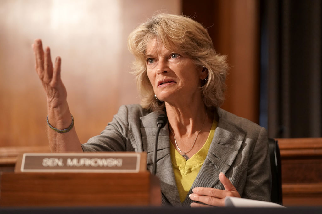 Sen. Lisa Murkowski (R-Ak) is seen during a Senate Health, Education, Labor, and Pensions Committee hearing to discuss vaccines and protecting public health during the coronavirus pandemic on September 9, 2020 in Washington DC.