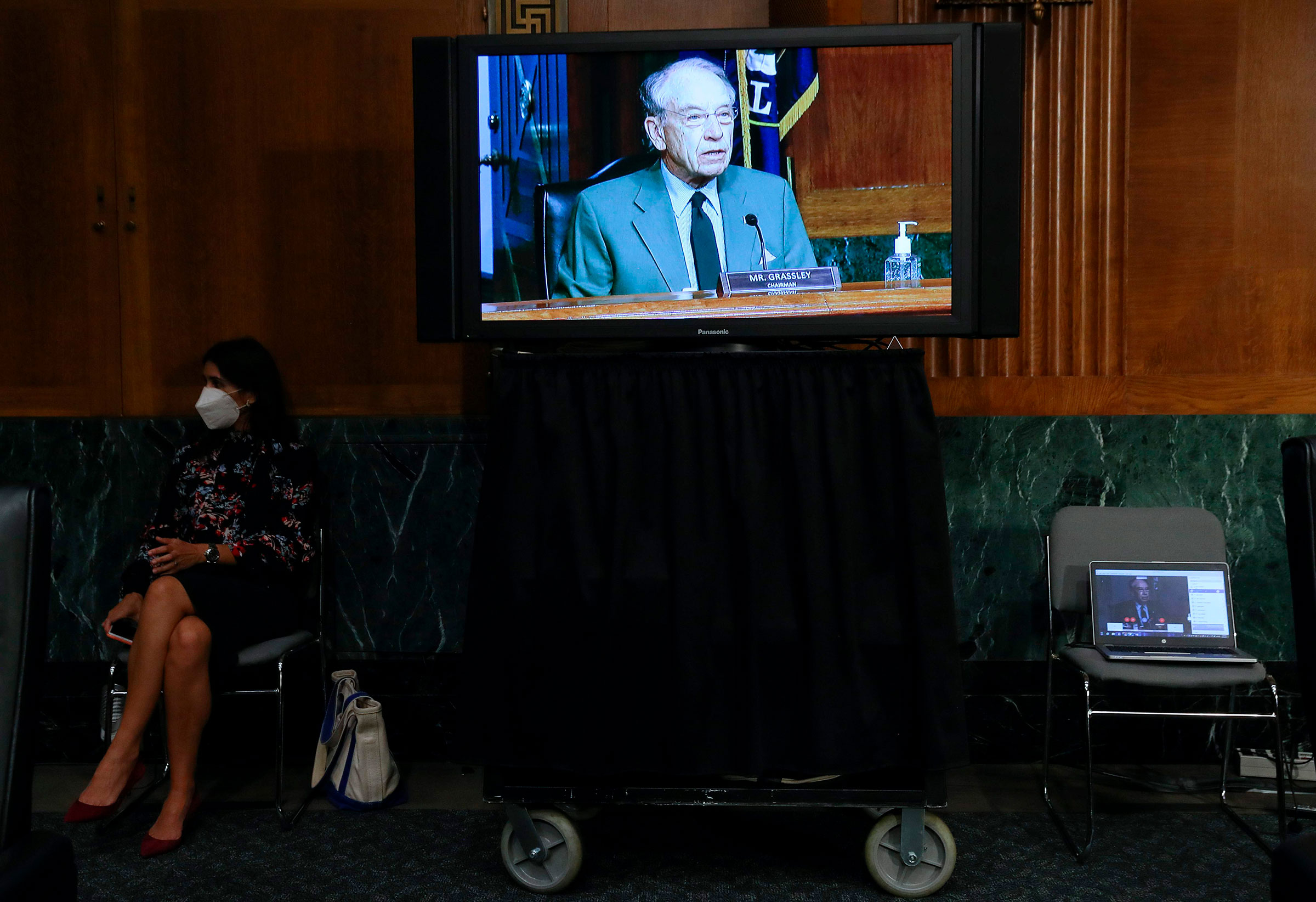 Committee Chairman Sen. Chuck Grassley is seen on a television monitor as he presides during a Senate Finance Committee hearing on Capitol Hill on June 9, 2020.