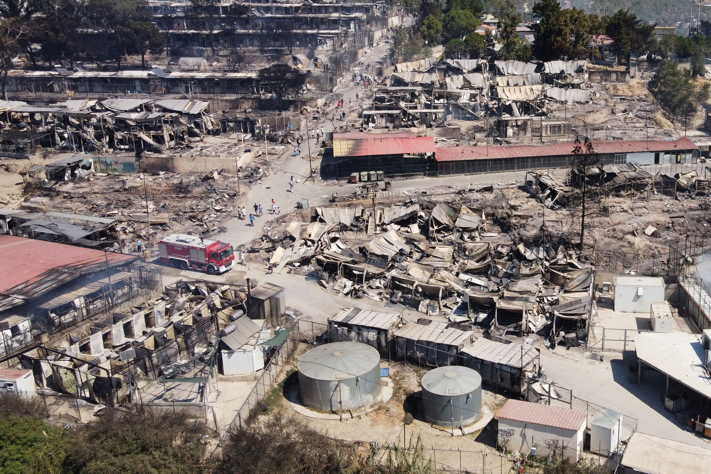 An aerial view of destroyed shelters following a fire at the Moria refugee camp in Lesbos, Greece.