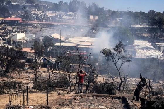 Greece Migrant Camp Blaze