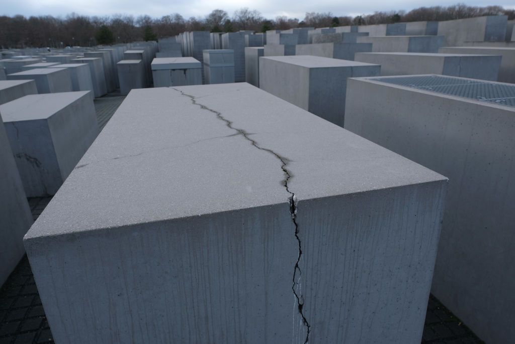 A crack cuts through one of the thousands of stellae at the Memorial to the Murdered Jews of Europe, also called the Holocaust Memorial, on Jan. 29, 2019 in Berlin. Many of the memorial's stellae show similar damage.