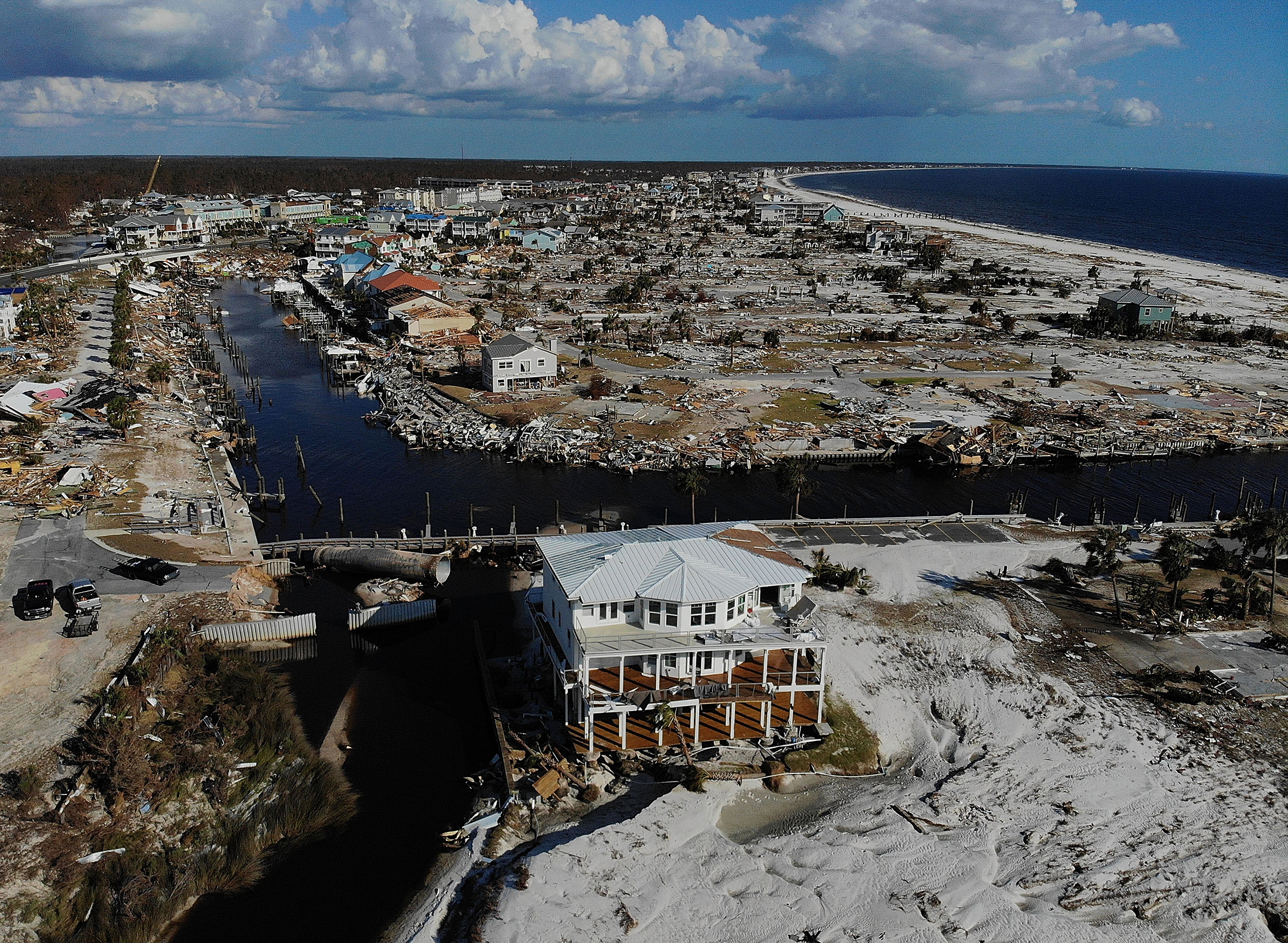 The aftermath of Hurricane Michael, which made a catastrophic landfall as a Category 5 hurricane near Mexico Beach, Fla., in October 2018.