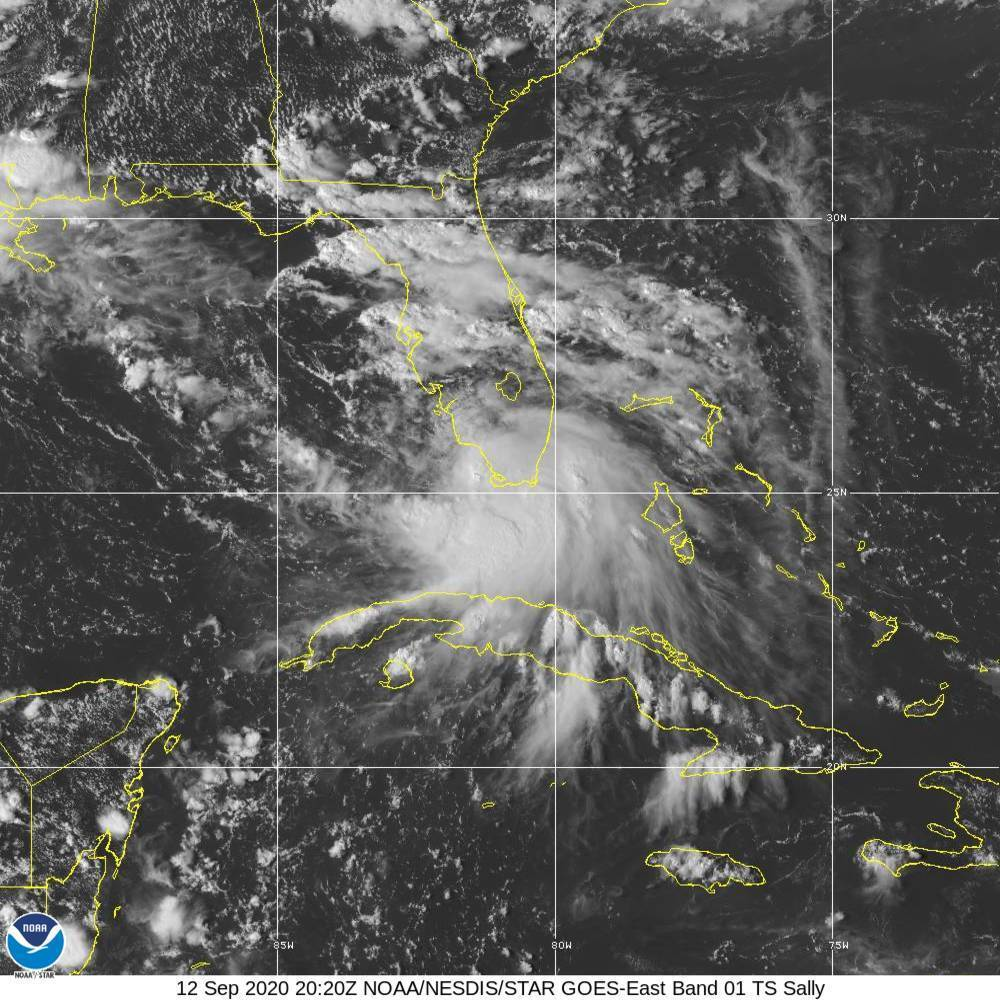This image provided by NOAA shows the formation of Tropical Storm Sally on Sept. 12, 2020.