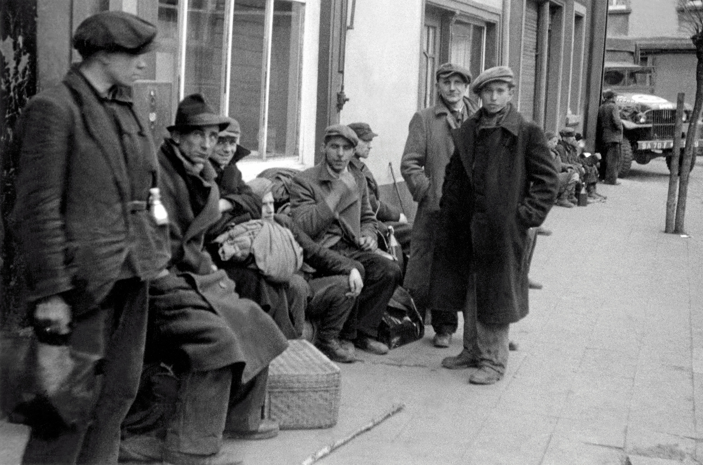 A group of Displaced Persons (DPs), in Barby, Germany on April 12, 1945.