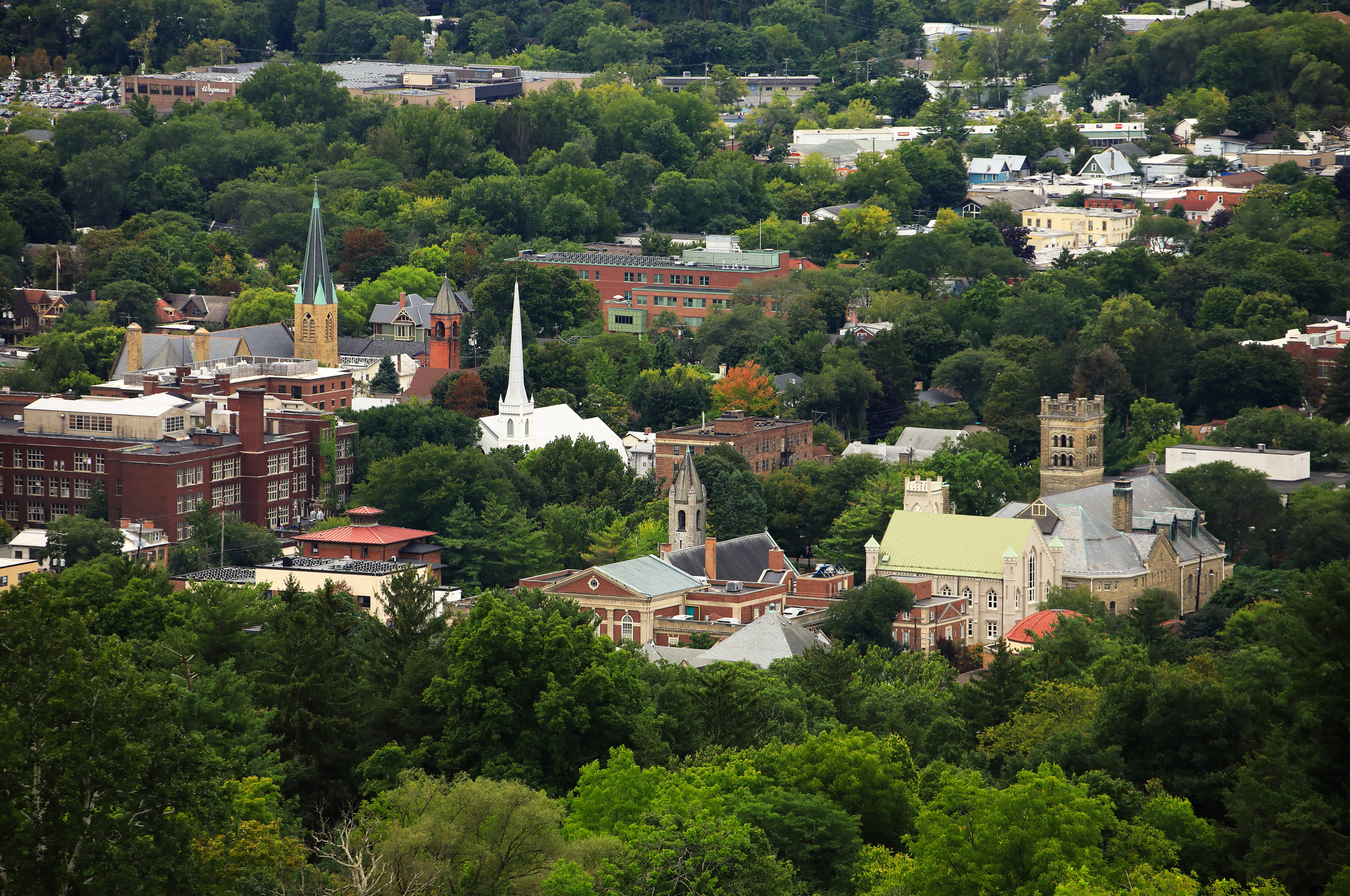 The aerial view of town of Ithaca in New York State