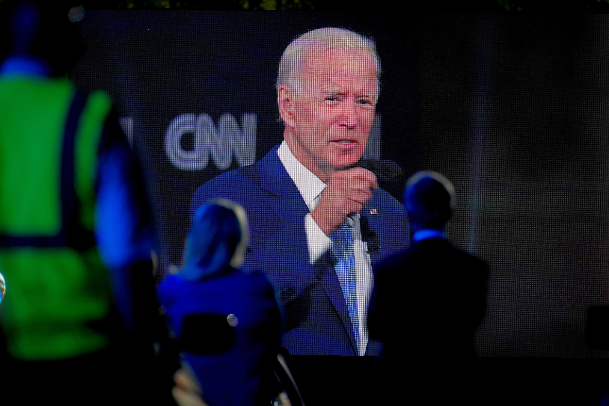 Democratic presidential nominee Joe Biden appears via video at a CNN town hall-style campaign event in Scranton, Pa., on Sept. 17, 2020.