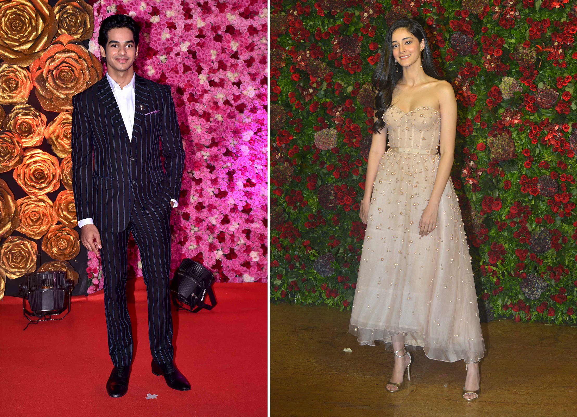 Left: Actor Ishaan Khatter seen on the red carpet during the LUX Awards on Nov. 18, 2018 in Mumbai; Right: Actor Ananya Panday at Ranveer Singh and Deepika Padukone's reception on Dec. 1, 2018 in Mumbai