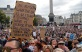 People take part in a 'We Do Not Consent' rally at Trafalgar Square, organised by Stop New Normal, to protest against coronavirus restrictions, in London on Sept. 26, 2020.