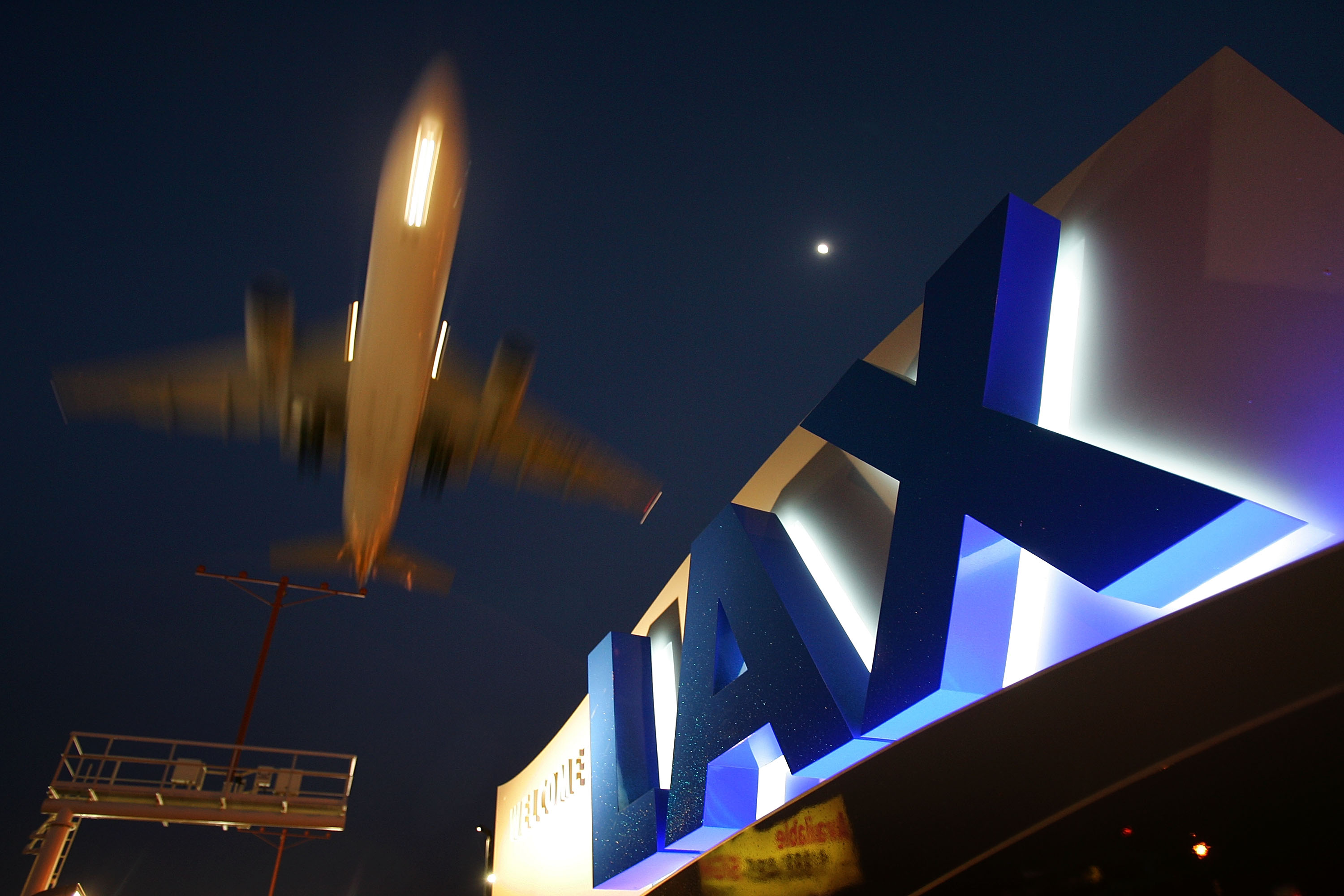 A jet comes in for landing at Los Angeles International Airport on April 15, 2008 in Los Angeles, California.
