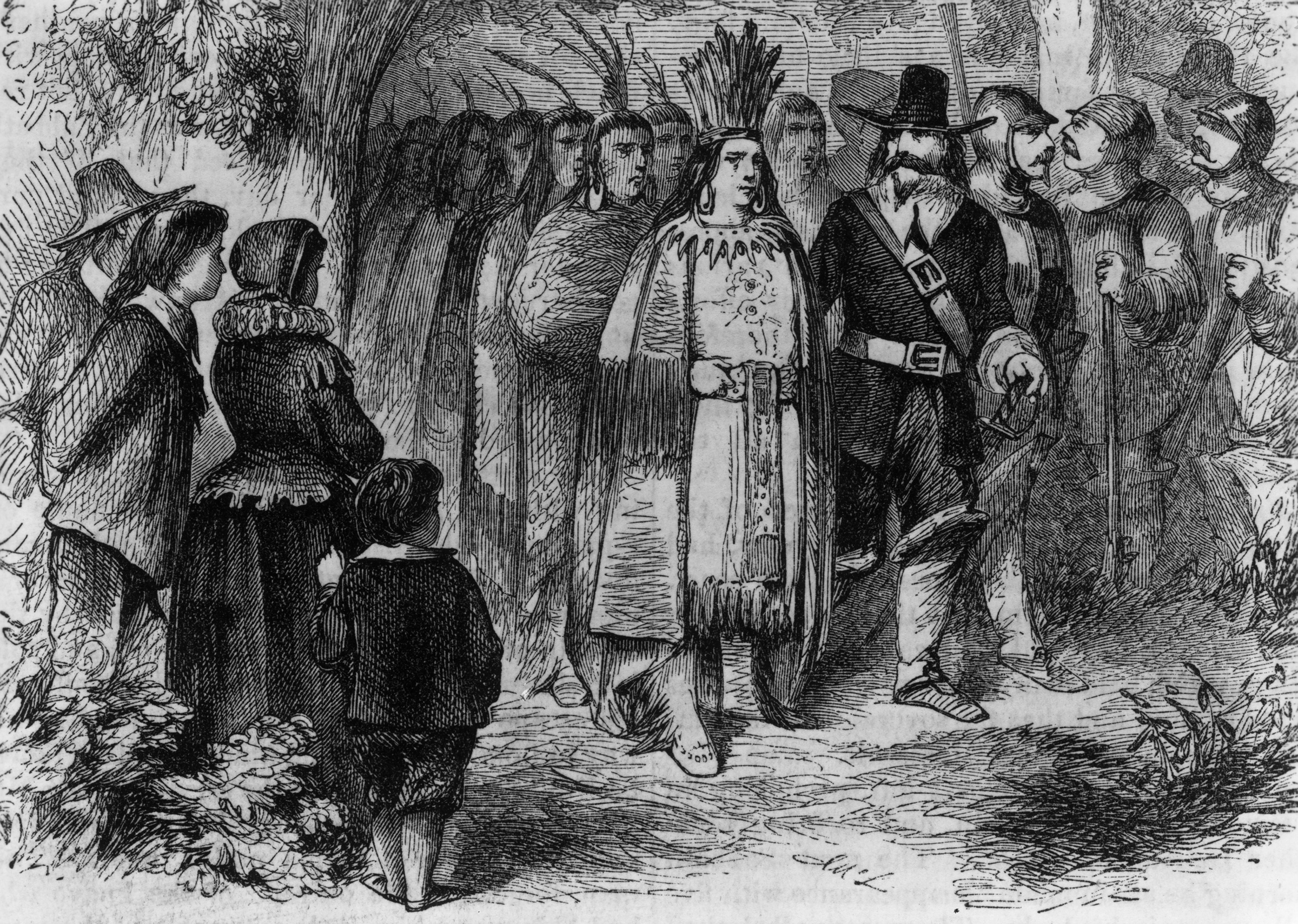 Circa 1621, Massasoit or Ousamequin, chief of the Wampanoag of Massachusetts and Rhode Island, pays a visit to the Pilgrims' camp at Plymouth Colony with his warriors after signing the earliest recorded treaty in New England