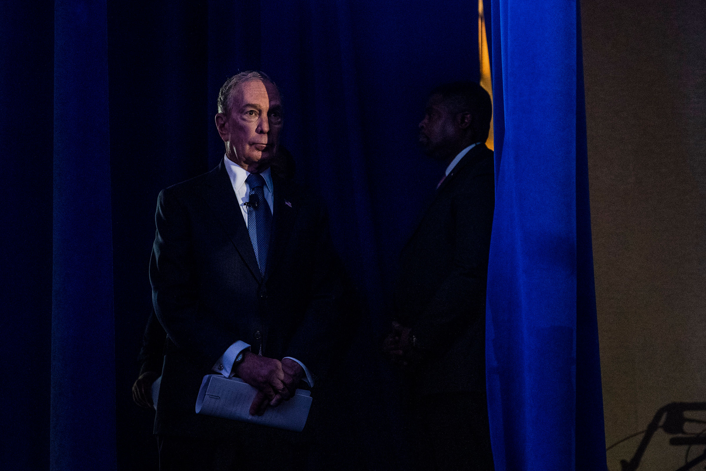 Former New York Mayor Michael Bloomoberg, then a Democratuc candidate for president, waits to speak at a campaign event in McLean, Va., on Feb. 29, 2020.