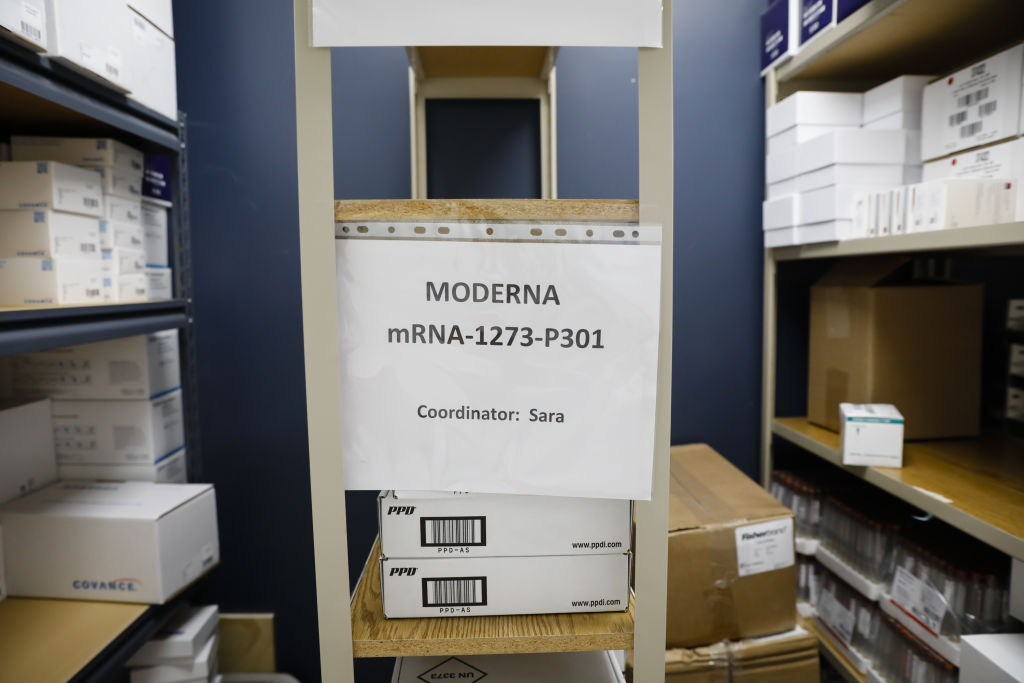 Moderna's vaccine candidate, stored at the Research Centers of America in Hollywood, Fla., in preparation for use in clinical trials on Sept. 9.