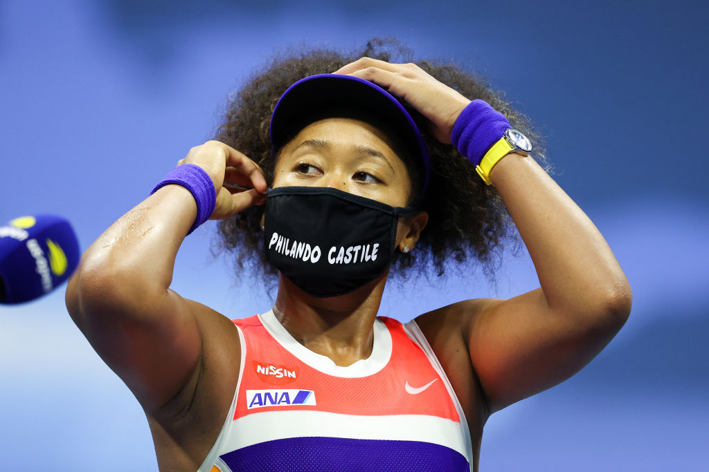 Naomi Osaka speaks after winning her women's singles semifinal match against Jennifer Brady on day 11 of the 2020 US Open at the USTA Billie Jean King National Tennis Center in New York City on September 10, 2020.