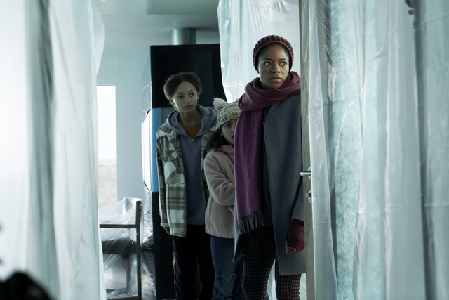 L-R: Nico Parker, Charlotte Gairdner-Mihell and Naomie Harris in 'The Third Day'