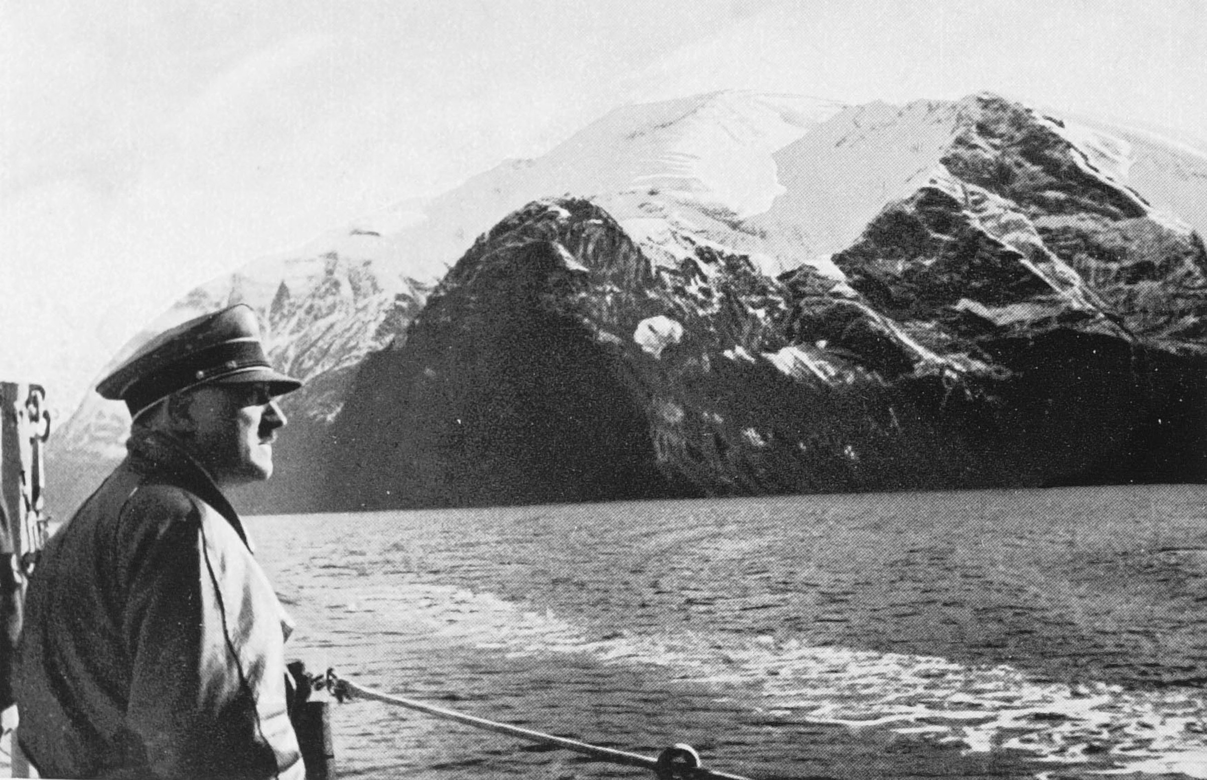 Adolf Hitler visiting the Norwegian fjords abord a war ship, in 1934.