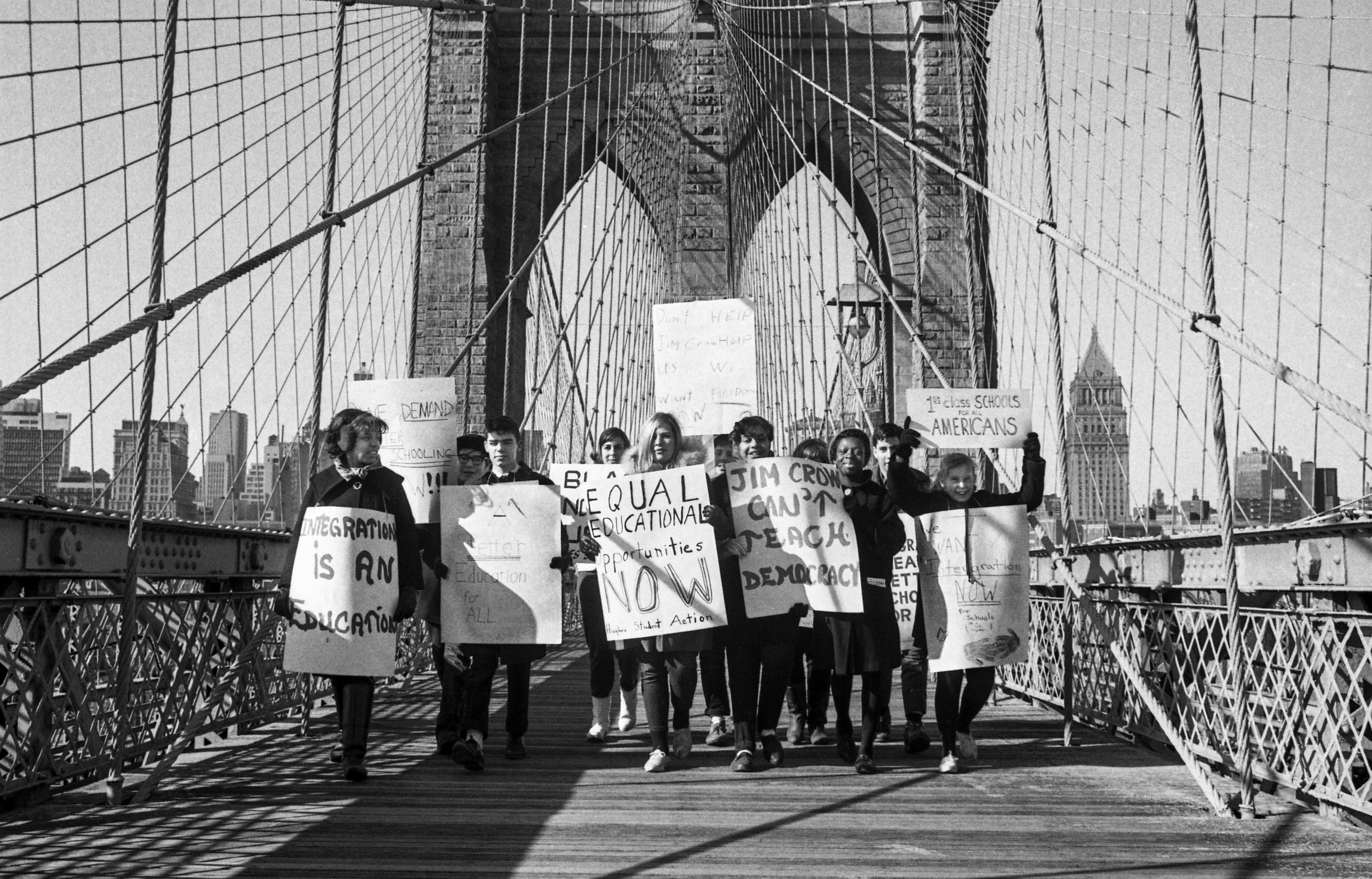 School boycott pickets march across the Brooklyn Bridge en route from City Hall to the Board of Education in Brooklyn on Feb. 3, 1964, to continue their demonstration against de facto segregation in the city's school system.