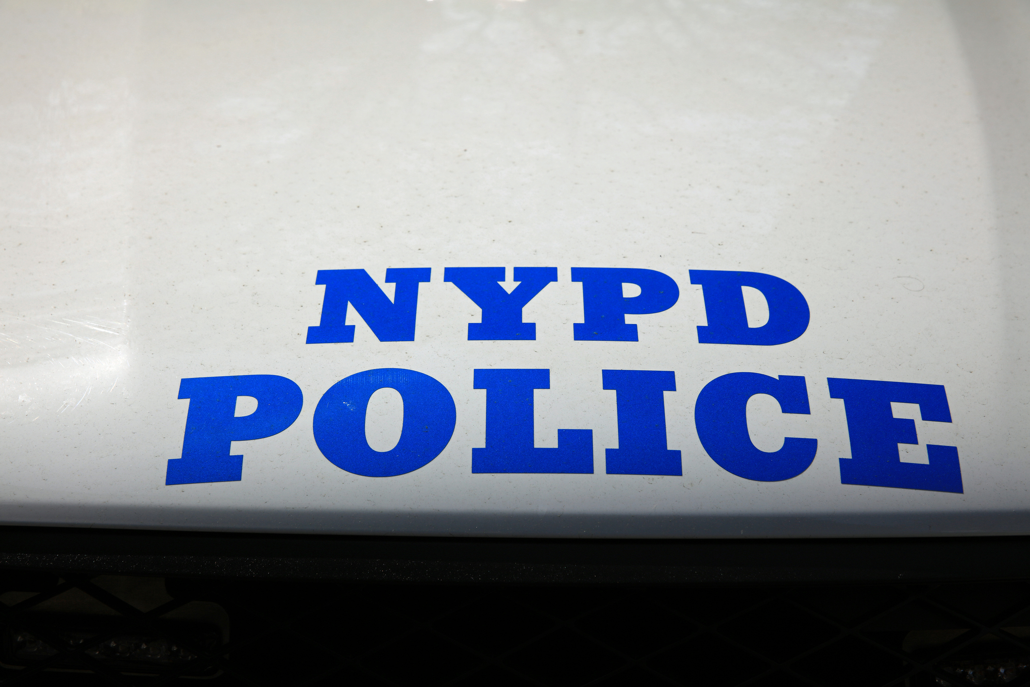 New York Police Department sign on patrol car in New York City.