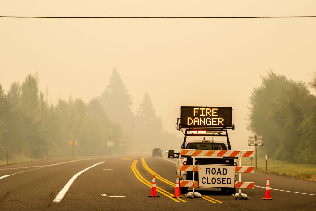 A sign warning of impending fire danger is posted on September 10, 2020 in Estacada, Ore.