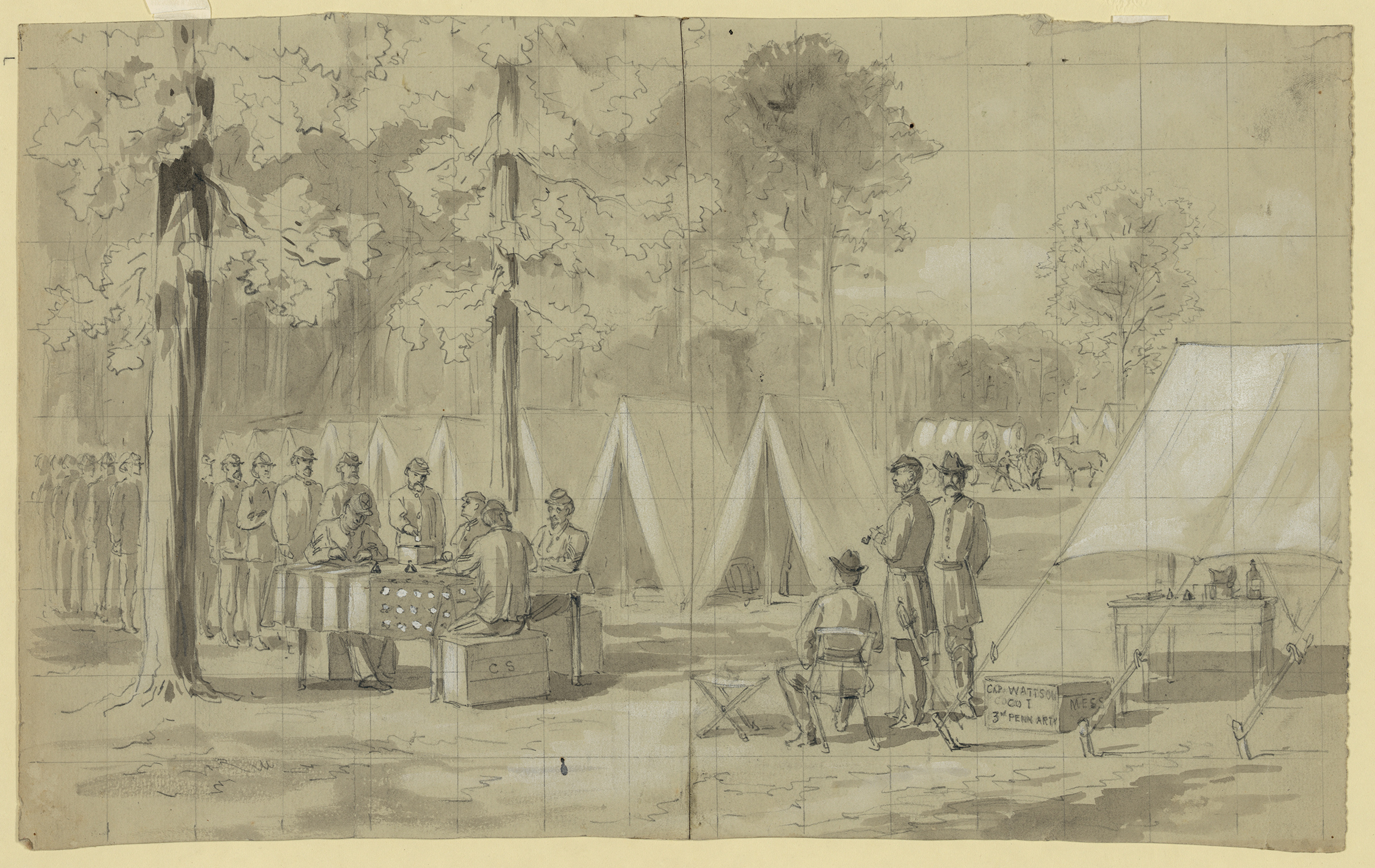 An illustration of Pennsylvania soldiers voting published in the Oct. 29, 1864, issue of Harpers's Weekly.