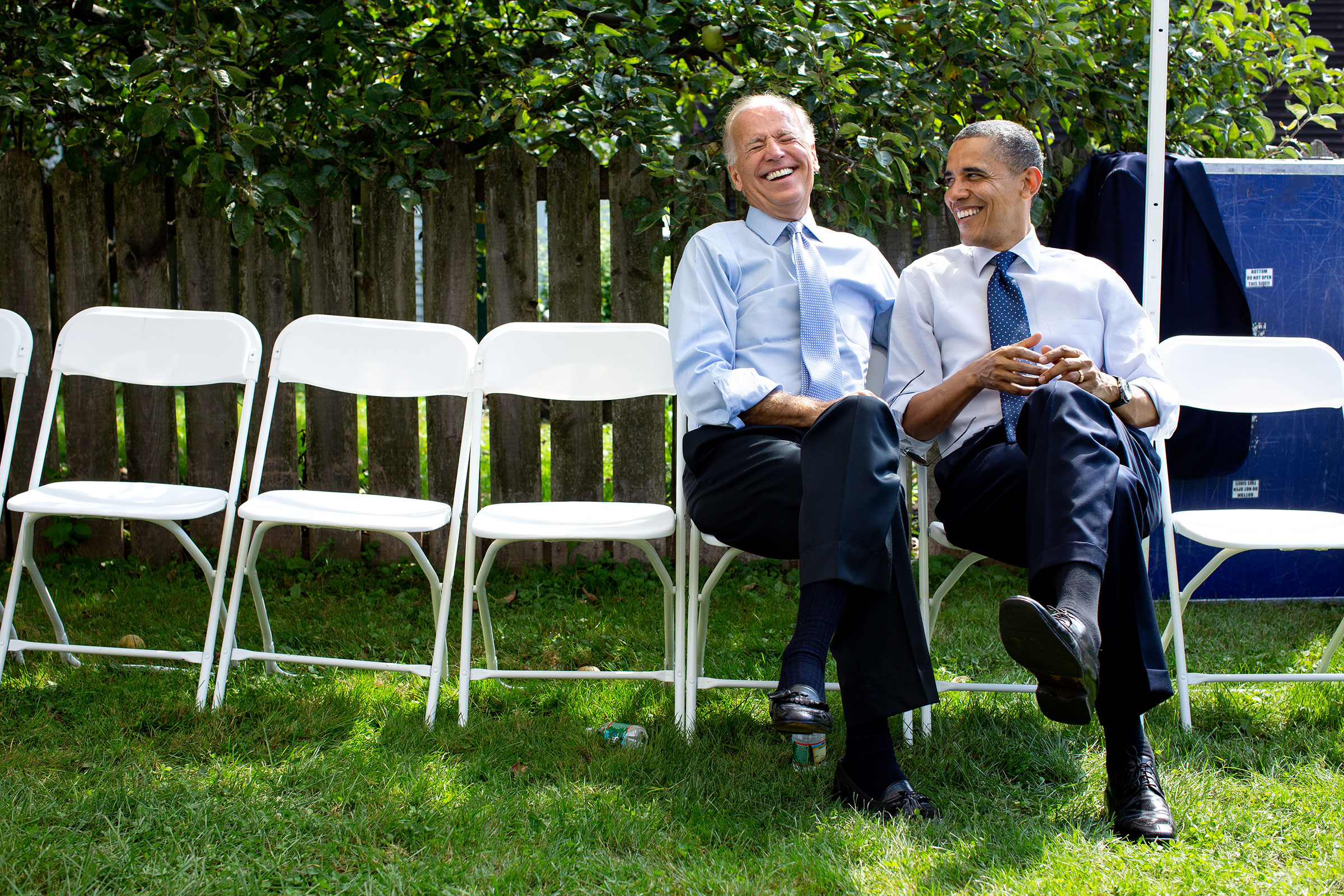 President Barack Obama and Vice President Joe Biden talk backstage during a grassroots campaign event at Strawbery Banke Museum in Portsmouth, N.H., on Sept. 7, 2012.